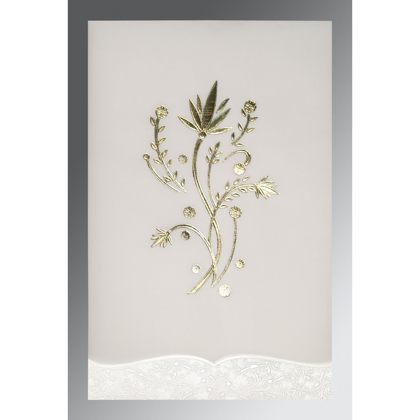 OFF-WHITE FLORAL THEMED - FOIL STAMPED WEDDING CARD : CIN-1495 - IndianWeddingCards
