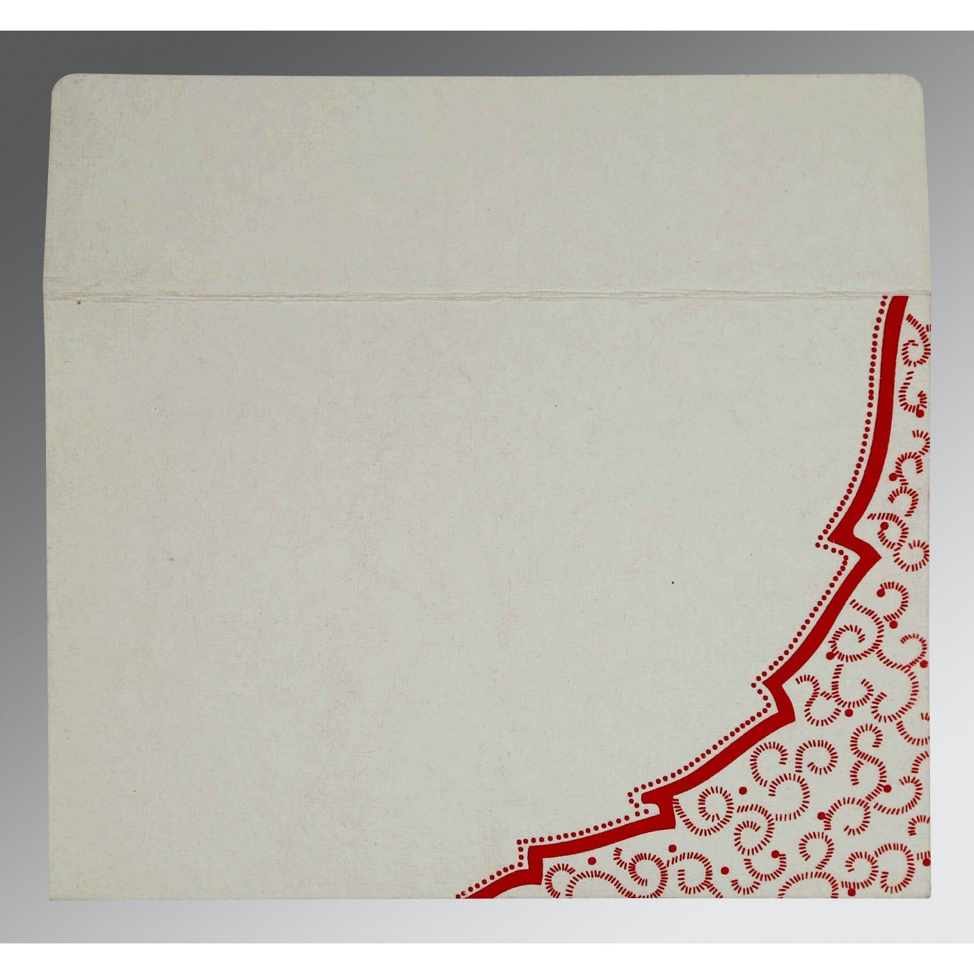 BEIGE HANDMADE COTTON FLORAL THEMED - FOIL STAMPED WEDDING CARD : CSO-8219L - IndianWeddingCards
