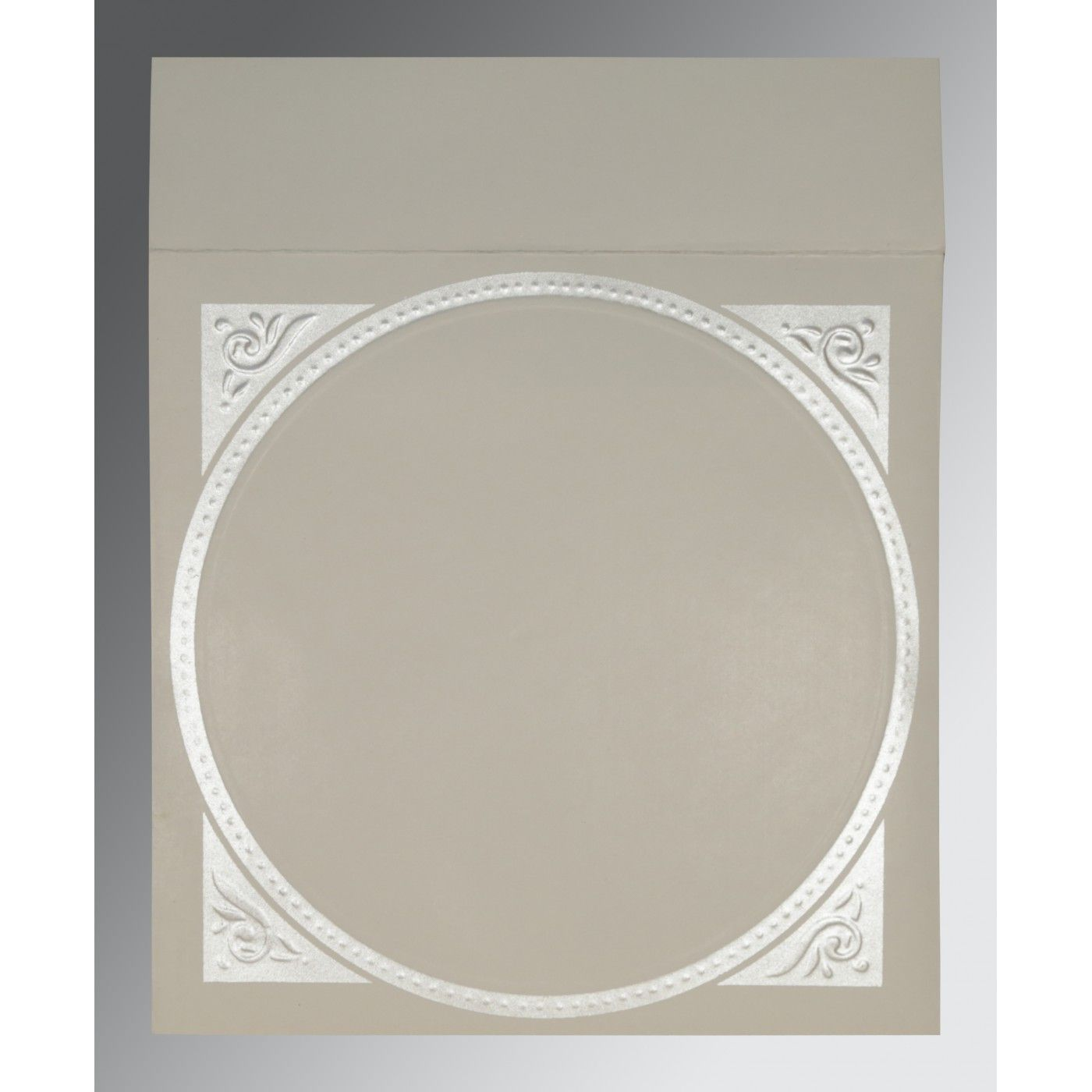 PALE SILVER MATTE EMBOSSED WEDDING CARD : CW-2015 - IndianWeddingCards
