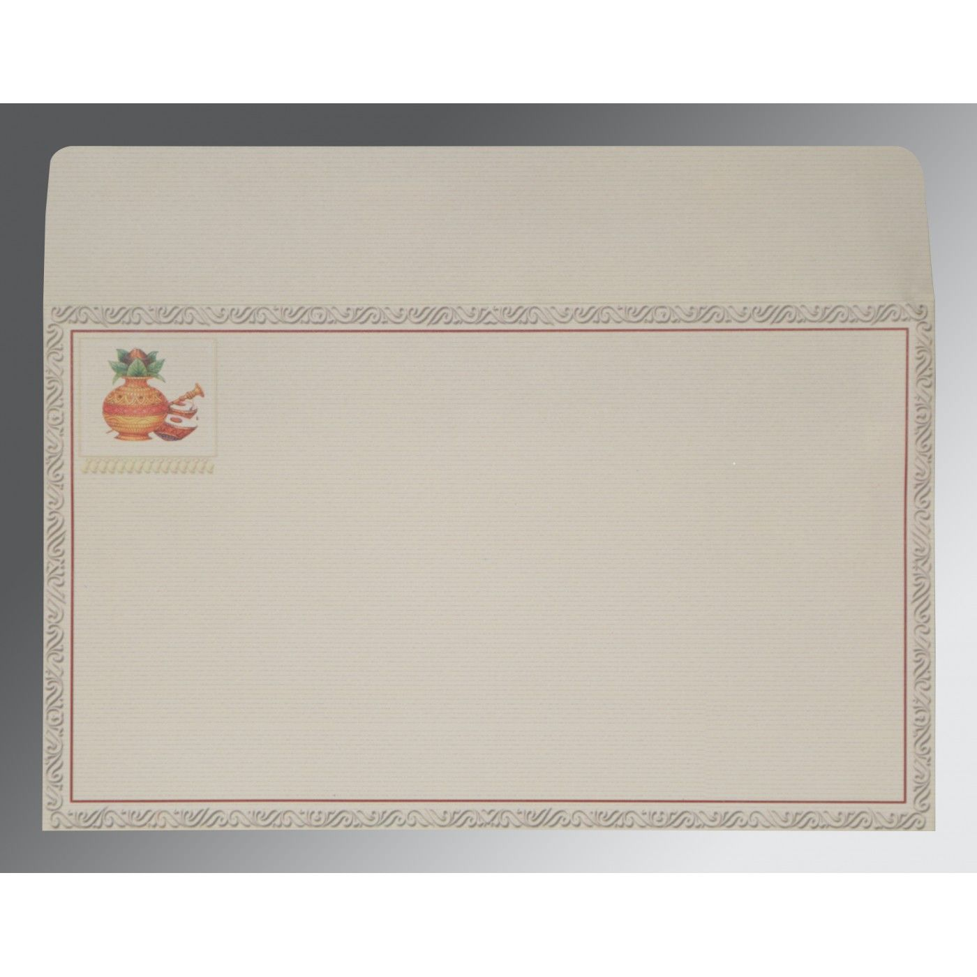 OFF-WHITE MATTE EMBOSSED WEDDING CARD : CW-2077 - IndianWeddingCards