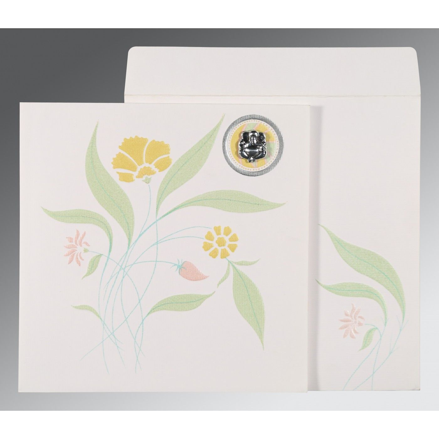 OFF-WHITE MATTE FLORAL THEMED - EMBOSSED WEDDING INVITATION : CIN-1114 - IndianWeddingCards