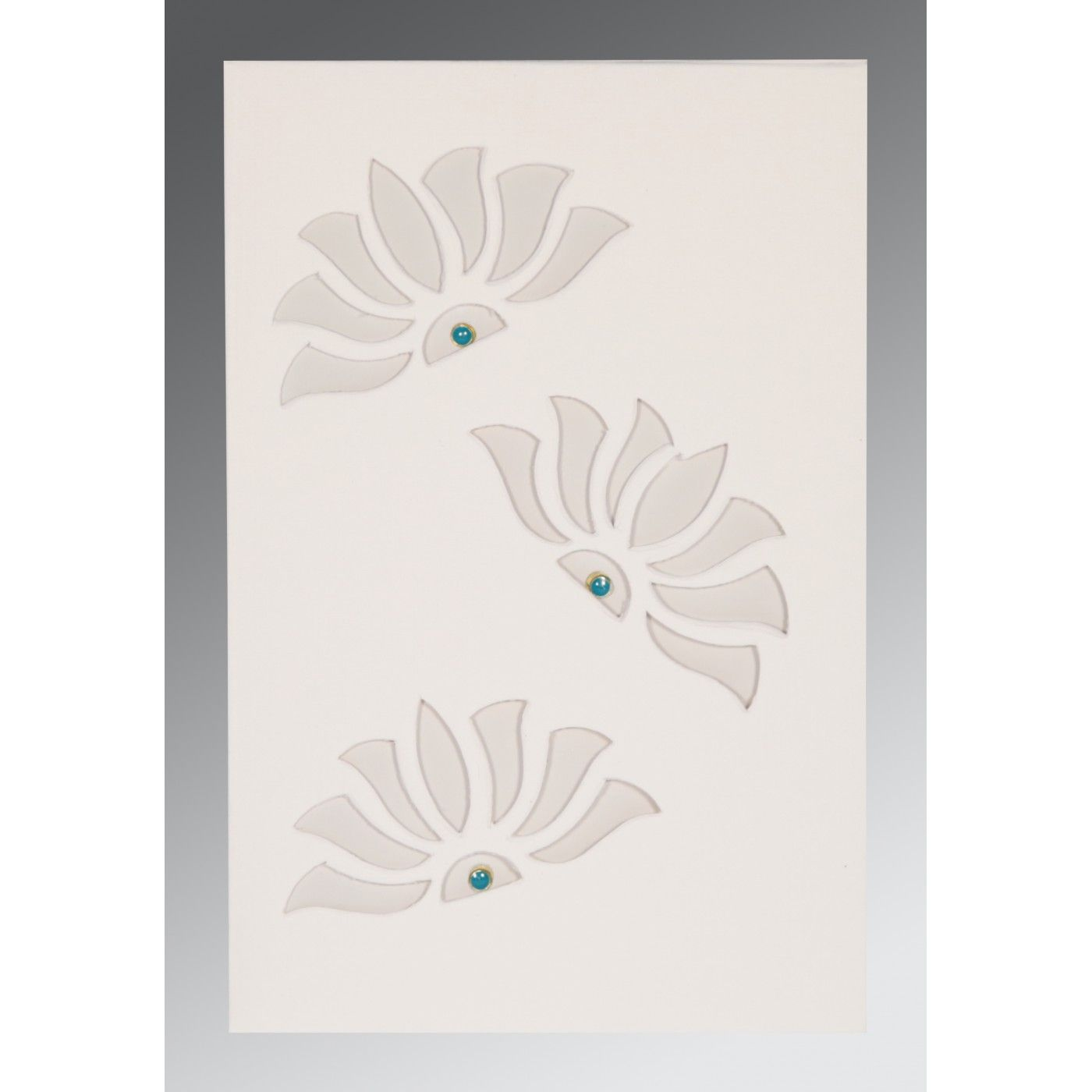 OFF-WHITE MATTE FLORAL THEMED - SCREEN PRINTED WEDDING INVITATION : CIN-1254 - IndianWeddingCards