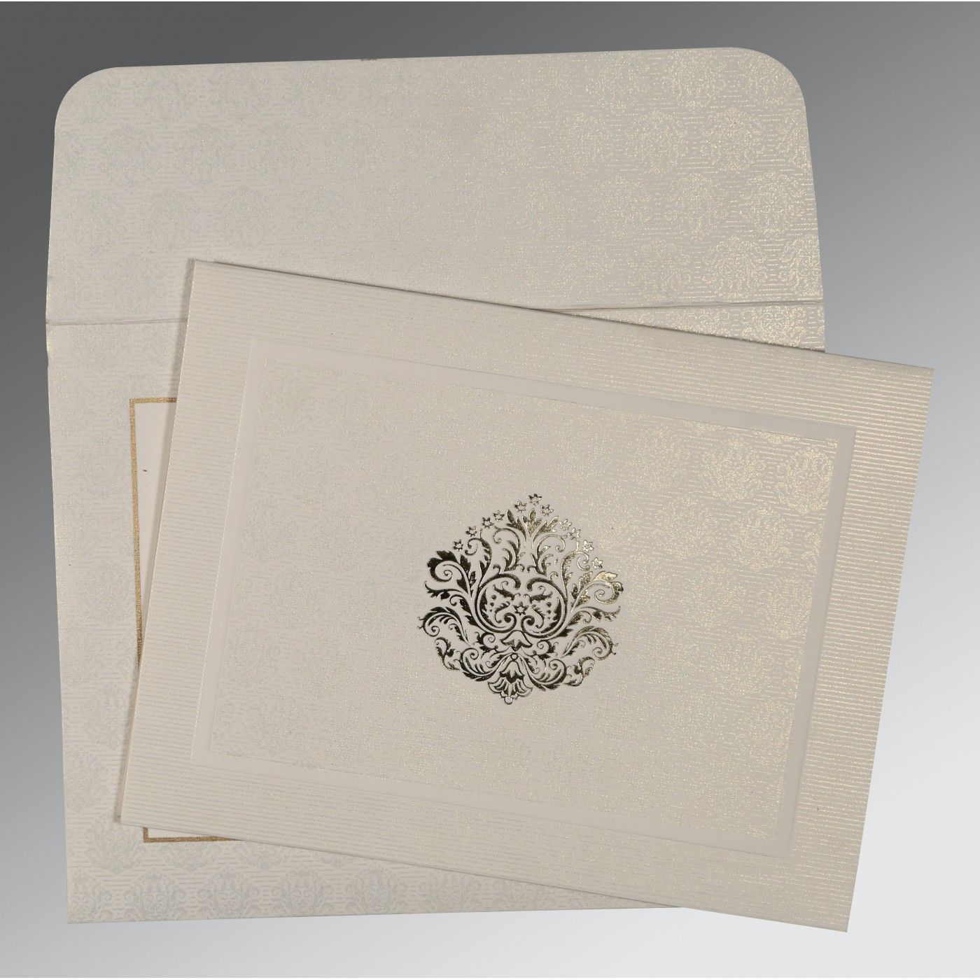 WHITE MATTE FOIL STAMPED WEDDING CARD : CW-1502 - IndianWeddingCards