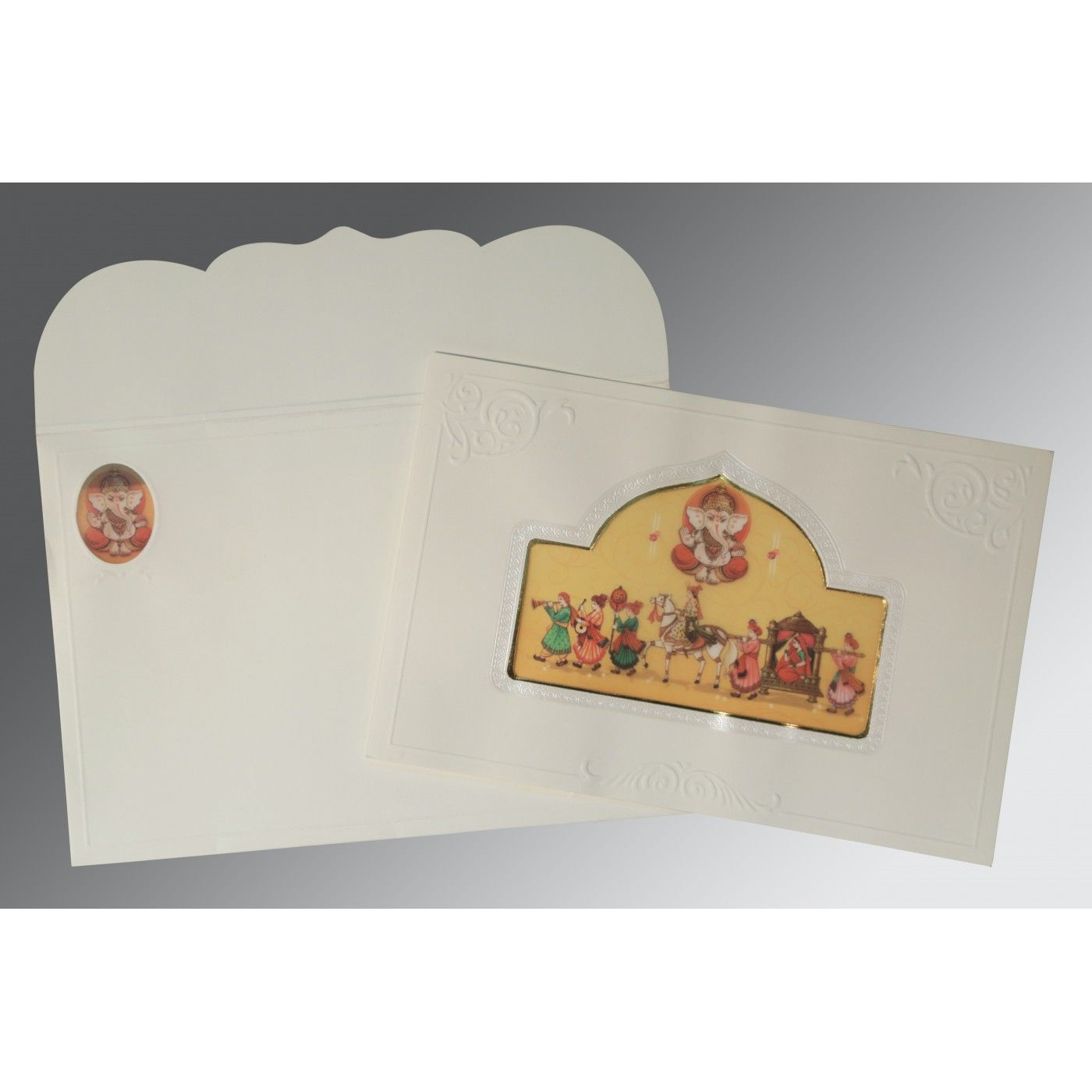 OFF-WHITE MATTE FOIL STAMPED WEDDING INVITATION : CW-2206 - IndianWeddingCards