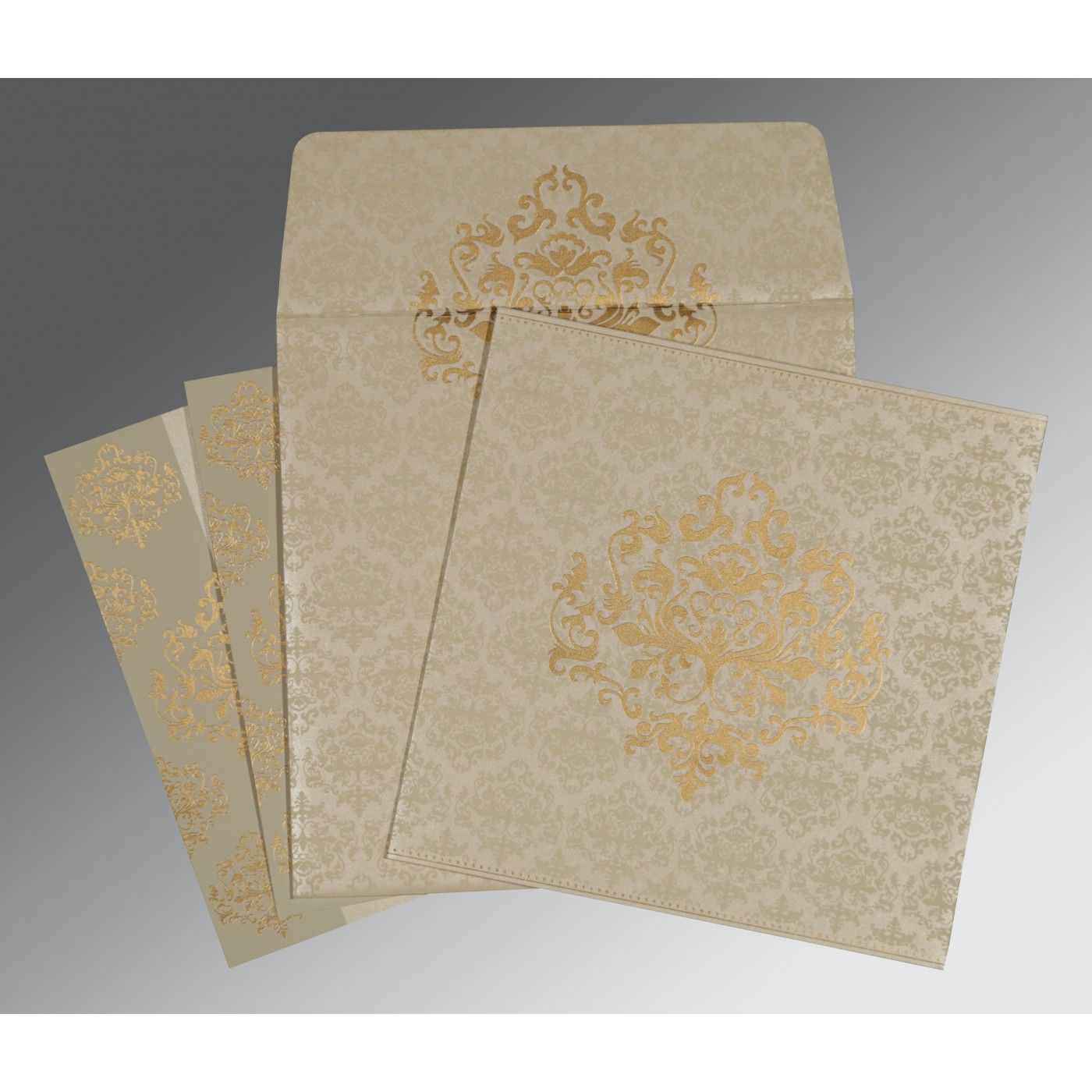 IVORY SHIMMERY DAMASK THEMED - SCREEN PRINTED WEDDING CARD : CSO-8254A - IndianWeddingCards