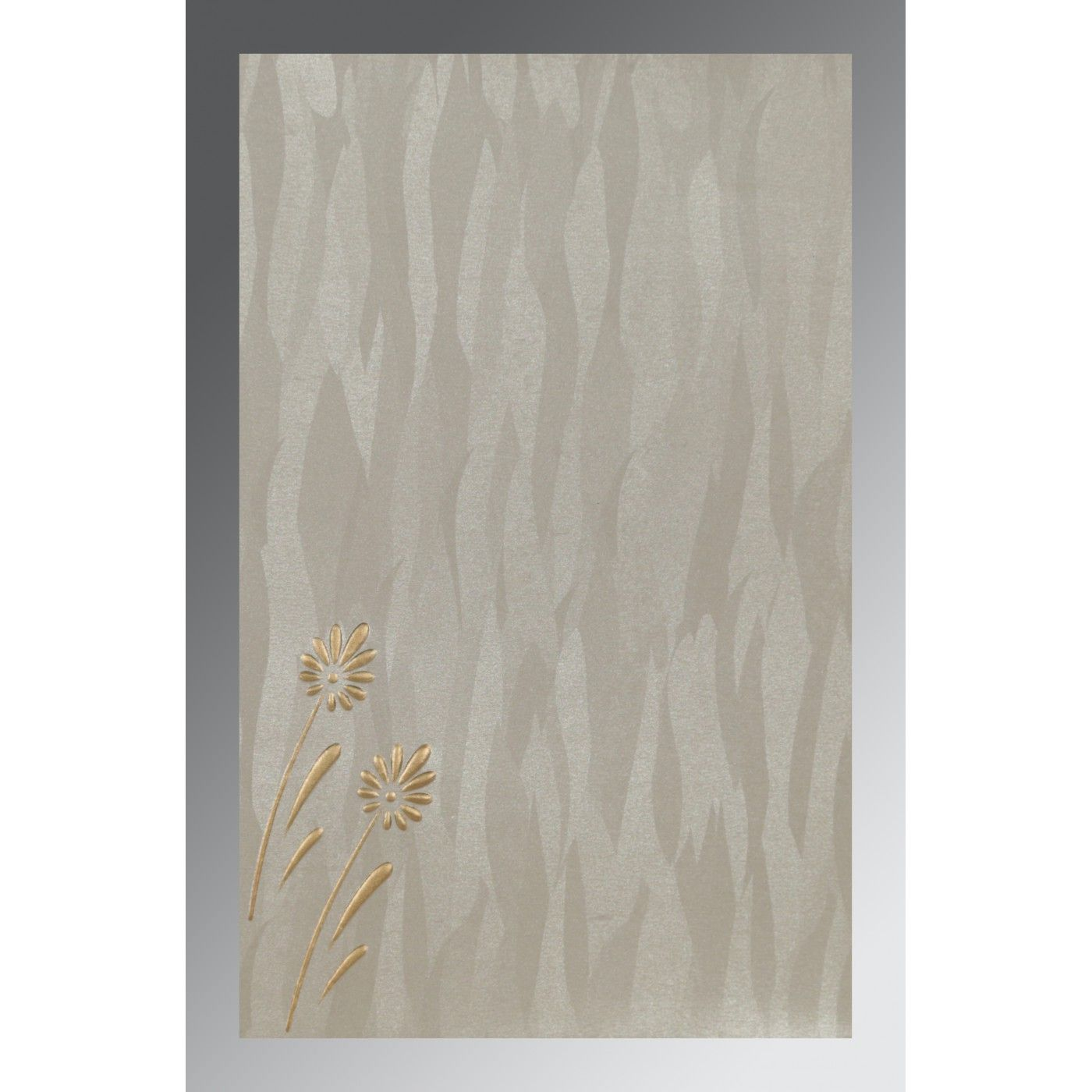 METALLIC SILVER SHIMMERY FLORAL THEMED - EMBOSSED WEDDING CARD : CIN-1372 - IndianWeddingCards