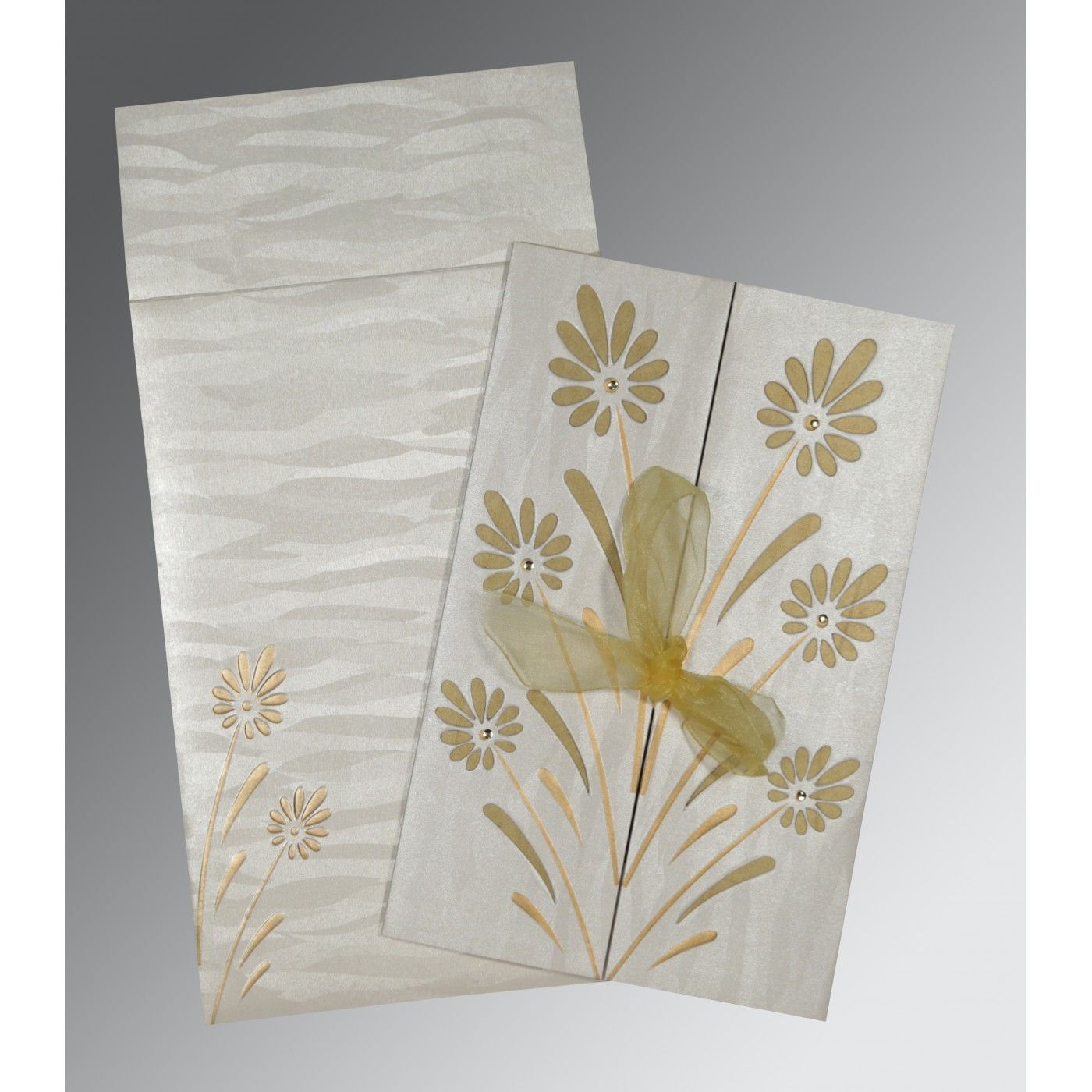 METALLIC SILVER SHIMMERY FLORAL THEMED - EMBOSSED WEDDING CARD : CW-1372 - IndianWeddingCards