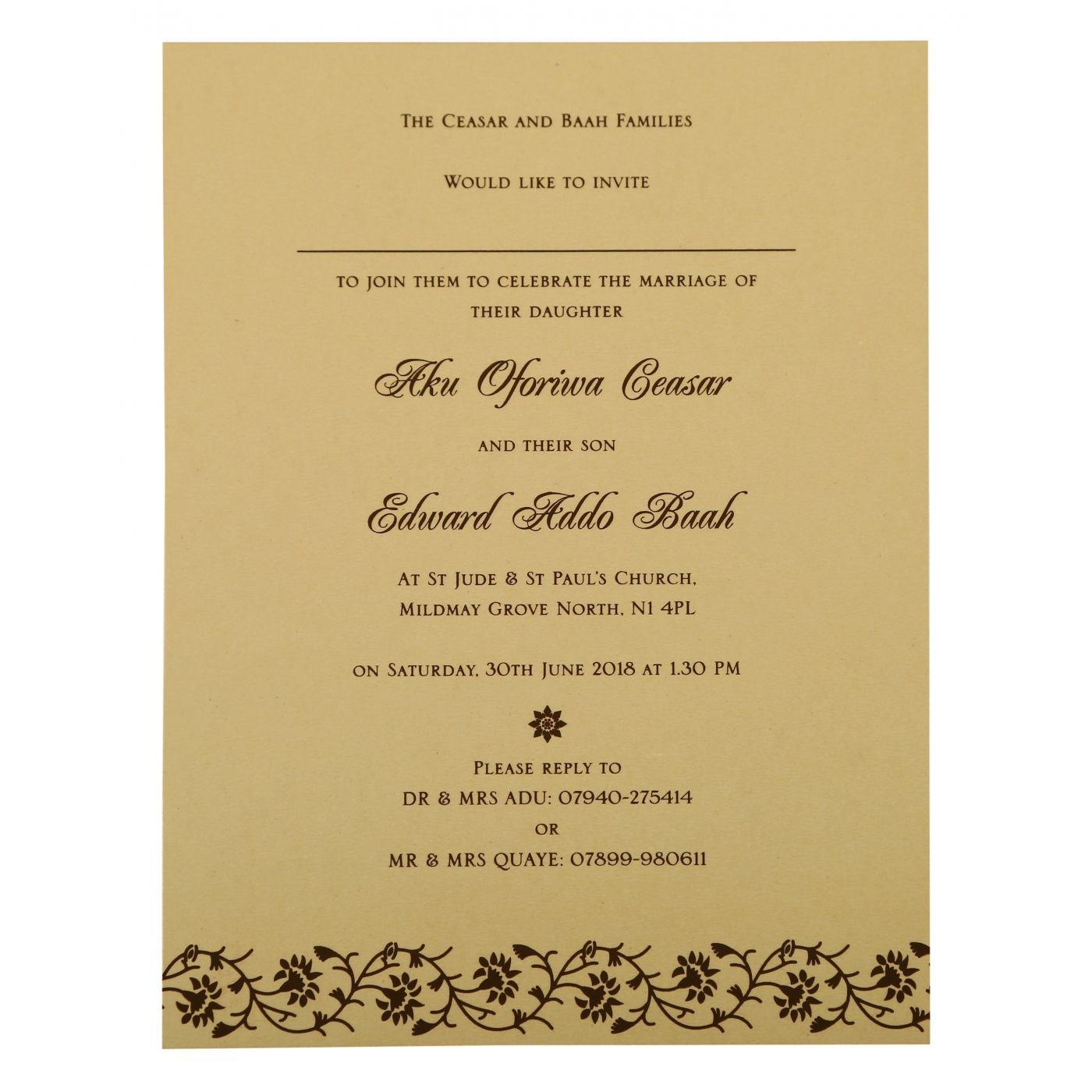 IVORY SHIMMERY FLORAL THEMED - SCREEN PRINTED WEDDING INVITATION : CW-822B - IndianWeddingCards
