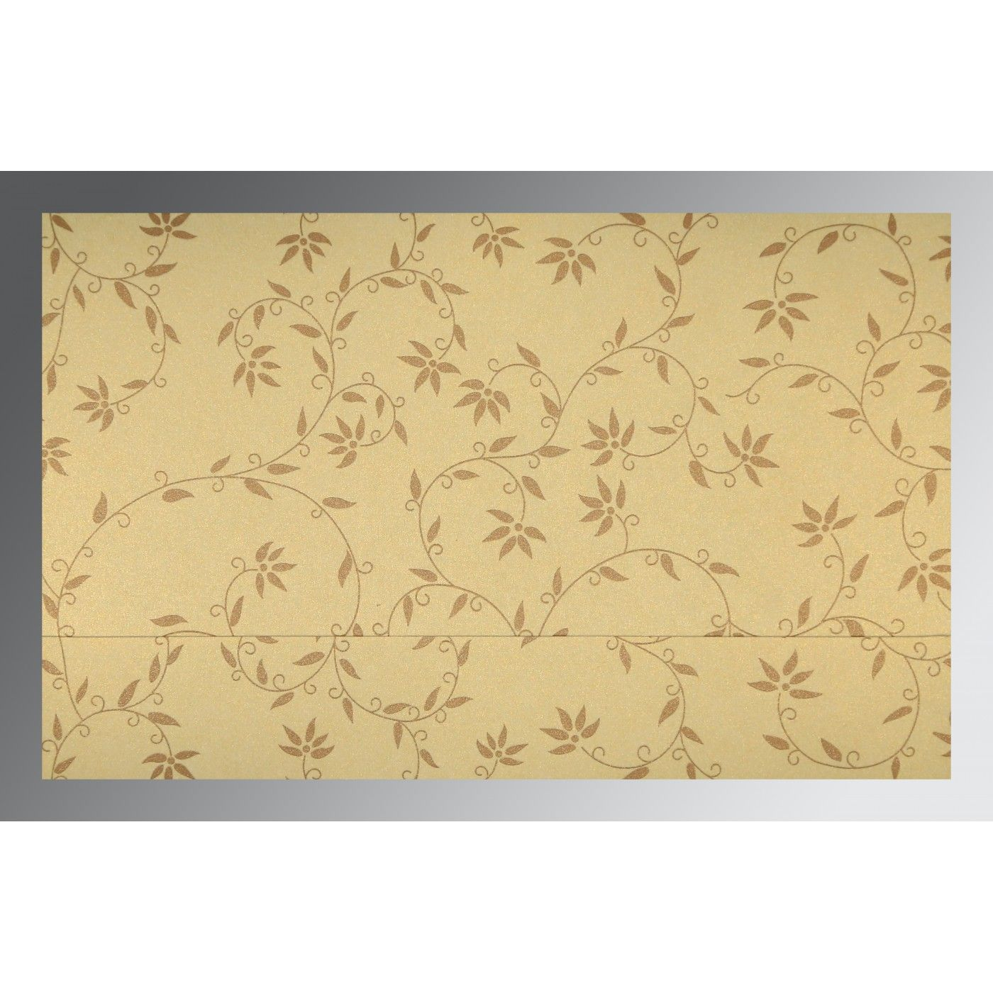 CREAM SHIMMERY FLORAL THEMED - SCREEN PRINTED WEDDING INVITATION : CD-8226S - IndianWeddingCards