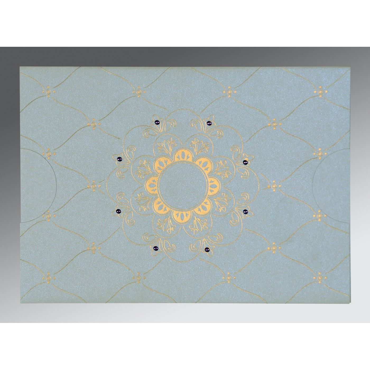 OFF-WHITE SHIMMERY FLORAL THEMED - SCREEN PRINTED WEDDING CARD : CD-8227E - IndianWeddingCards