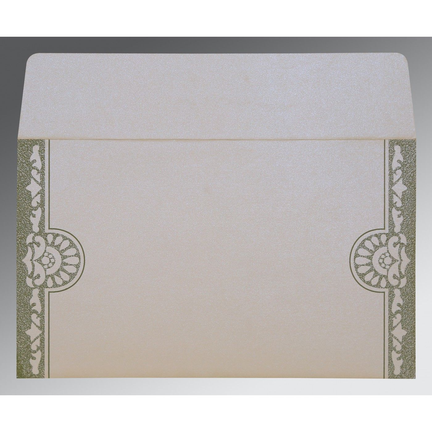 OFF-WHITE SHIMMERY FLORAL THEMED - SCREEN PRINTED WEDDING CARD : CG-8227F - IndianWeddingCards