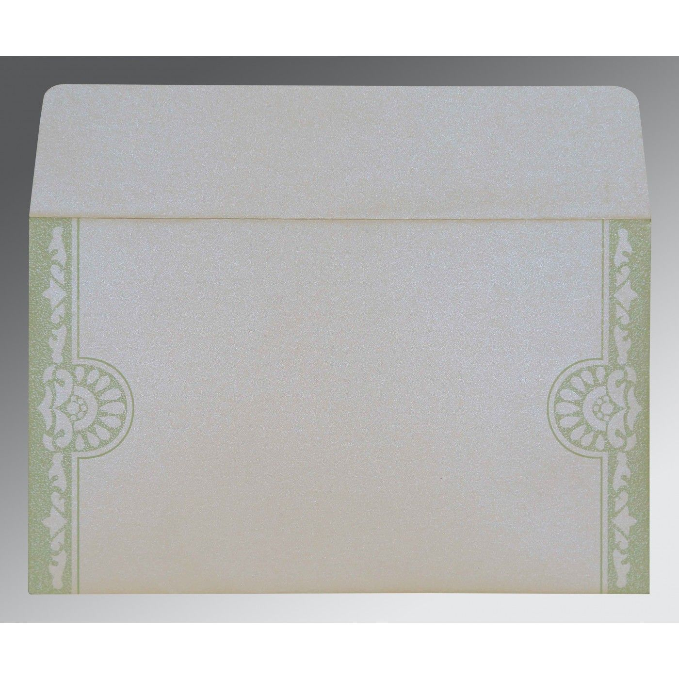 OFF-WHITE SHIMMERY FLORAL THEMED - SCREEN PRINTED WEDDING CARD : CG-8227J - IndianWeddingCards
