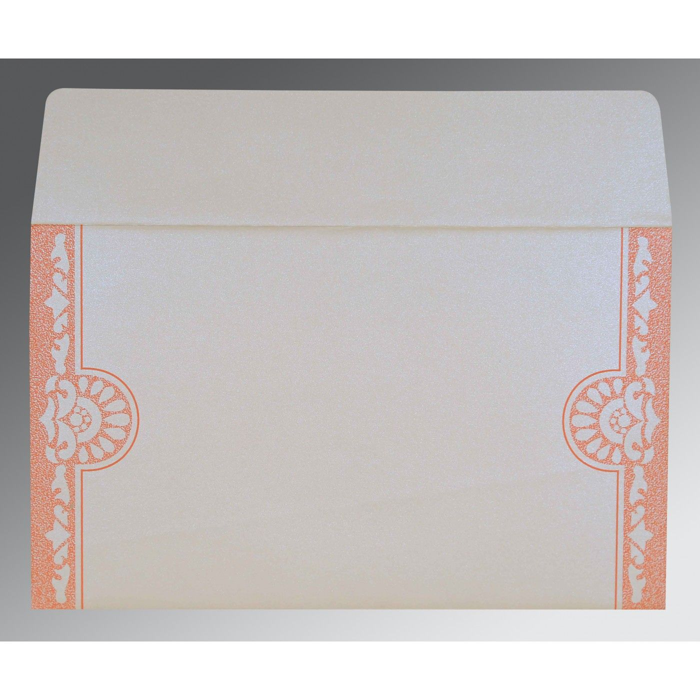 OFF-WHITE BLUE SHIMMERY FLORAL THEMED - SCREEN PRINTED WEDDING CARD : CG-8227N - IndianWeddingCards