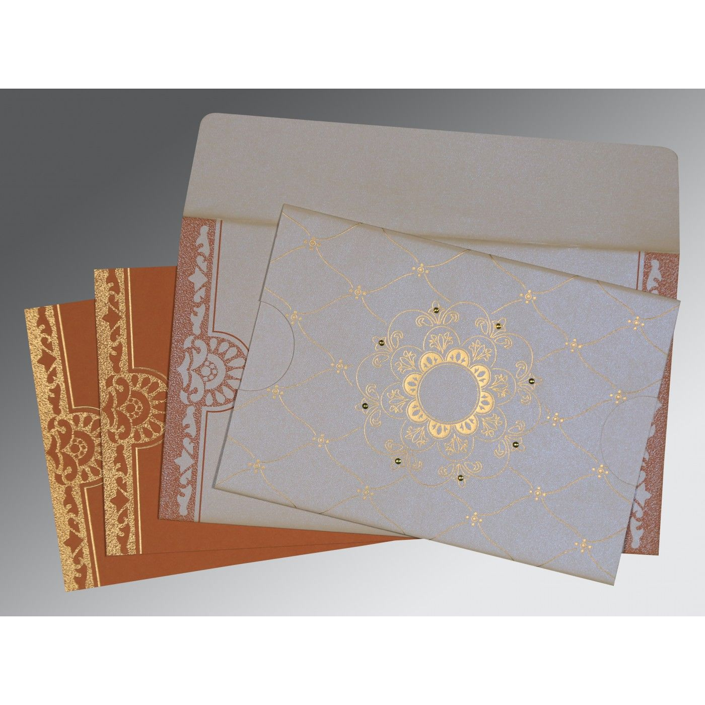 OFF-WHITE SHIMMERY FLORAL THEMED - SCREEN PRINTED WEDDING CARD : CI-8227L - IndianWeddingCards