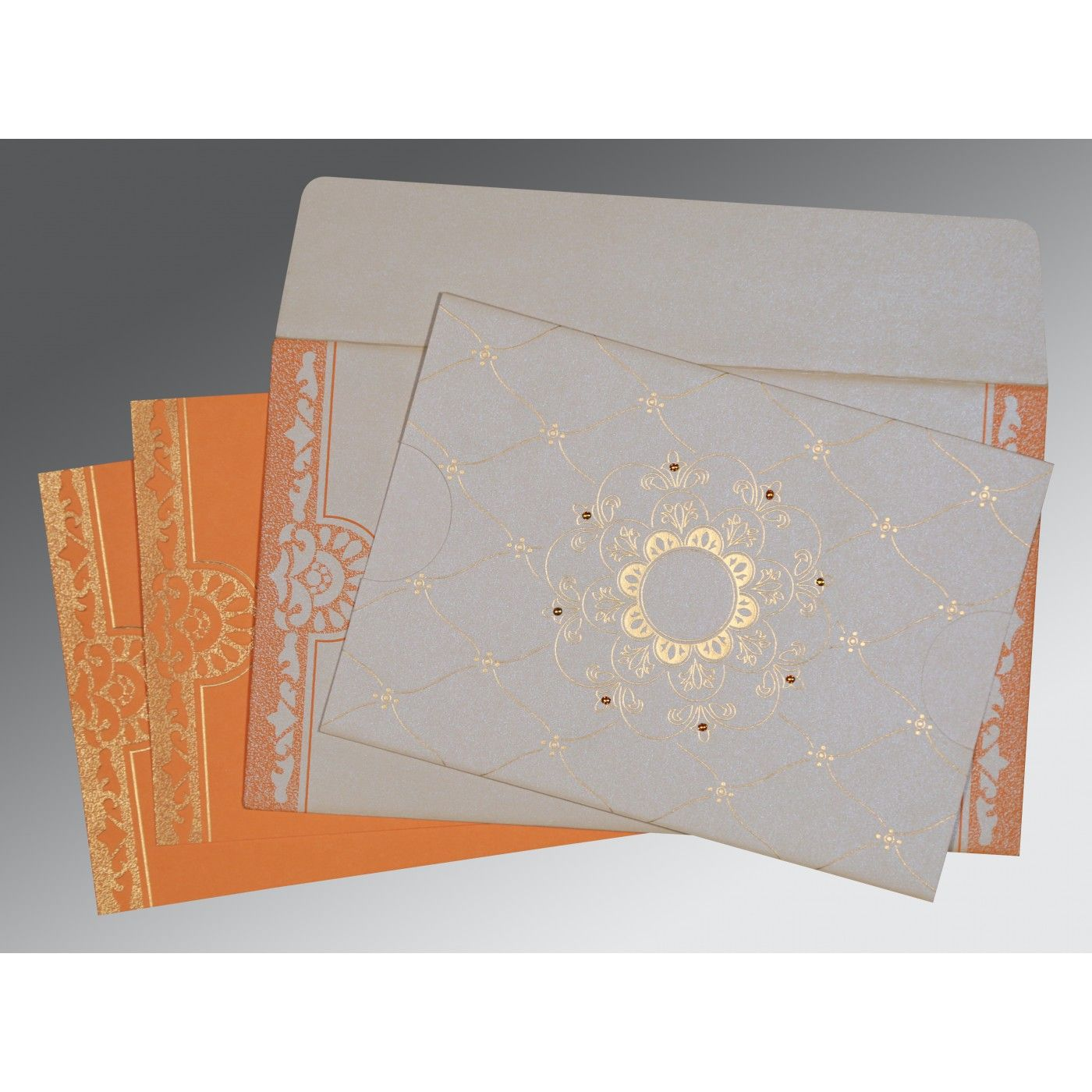 OFF-WHITE SHIMMERY FLORAL THEMED - SCREEN PRINTED WEDDING CARD : CIN-8227D - IndianWeddingCards