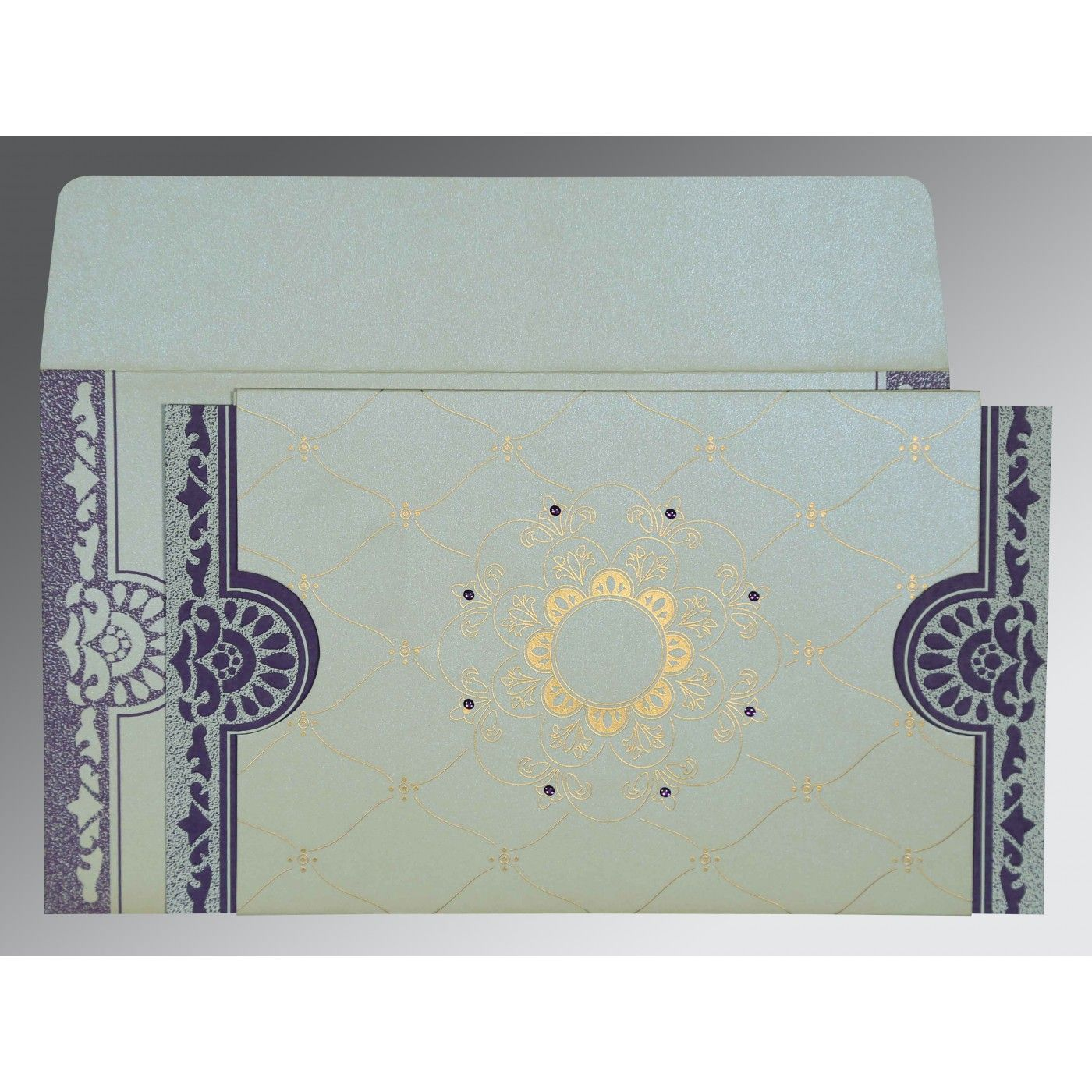 OFF-WHITE SHIMMERY FLORAL THEMED - SCREEN PRINTED WEDDING CARD : CIN-8227E - IndianWeddingCards
