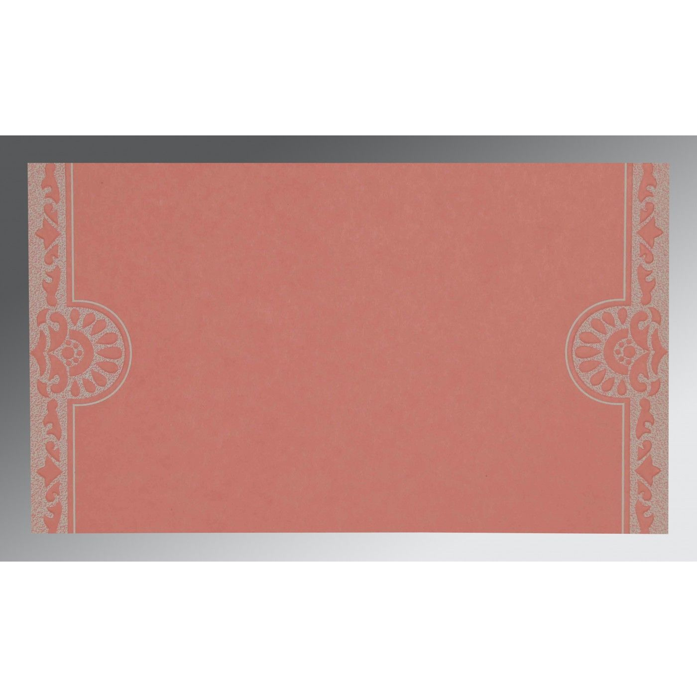 OFF-WHITE PINK SHIMMERY FLORAL THEMED - SCREEN PRINTED WEDDING CARD : CIN-8227M - IndianWeddingCards