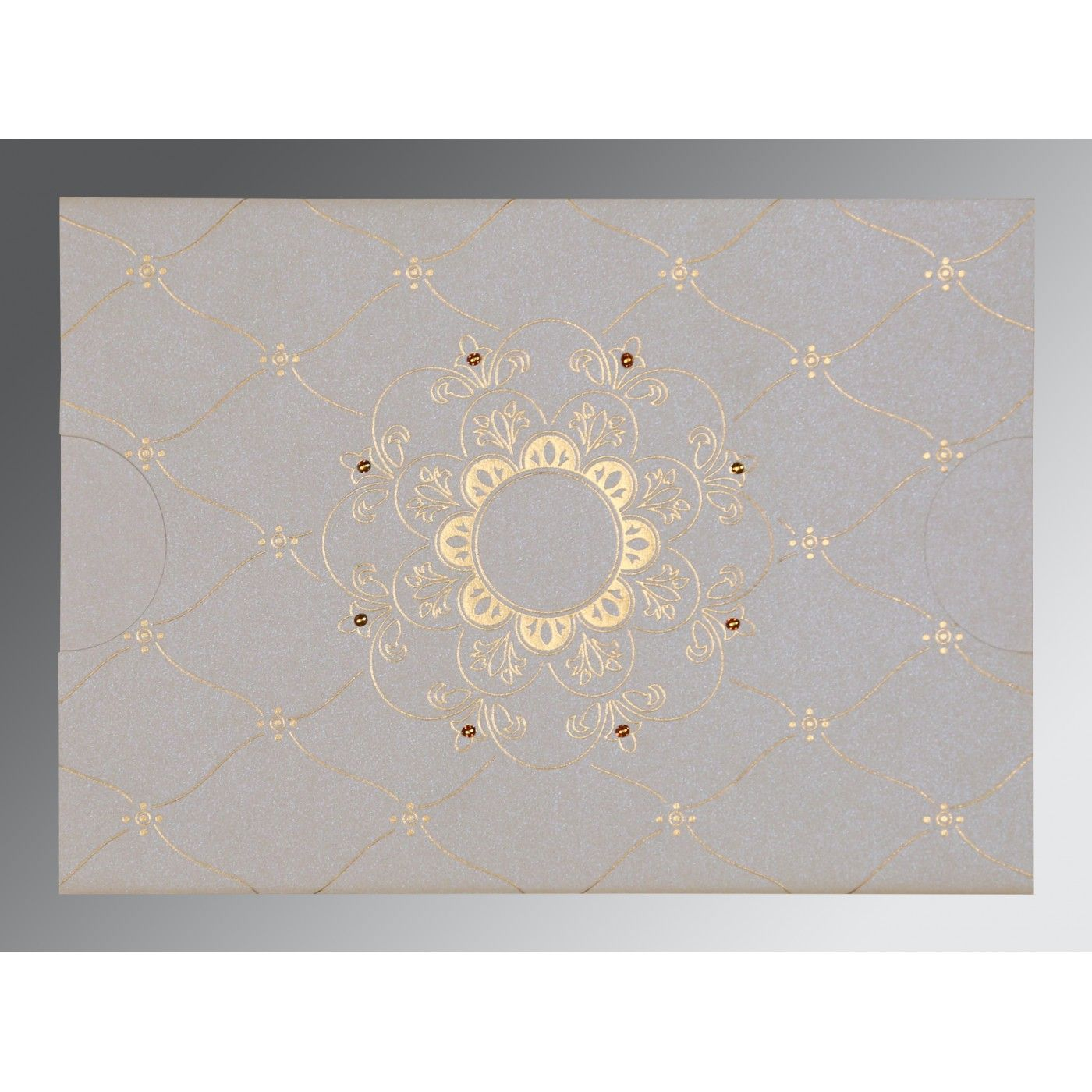 OFF-WHITE SHIMMERY FLORAL THEMED - SCREEN PRINTED WEDDING CARD : CRU-8227D - IndianWeddingCards