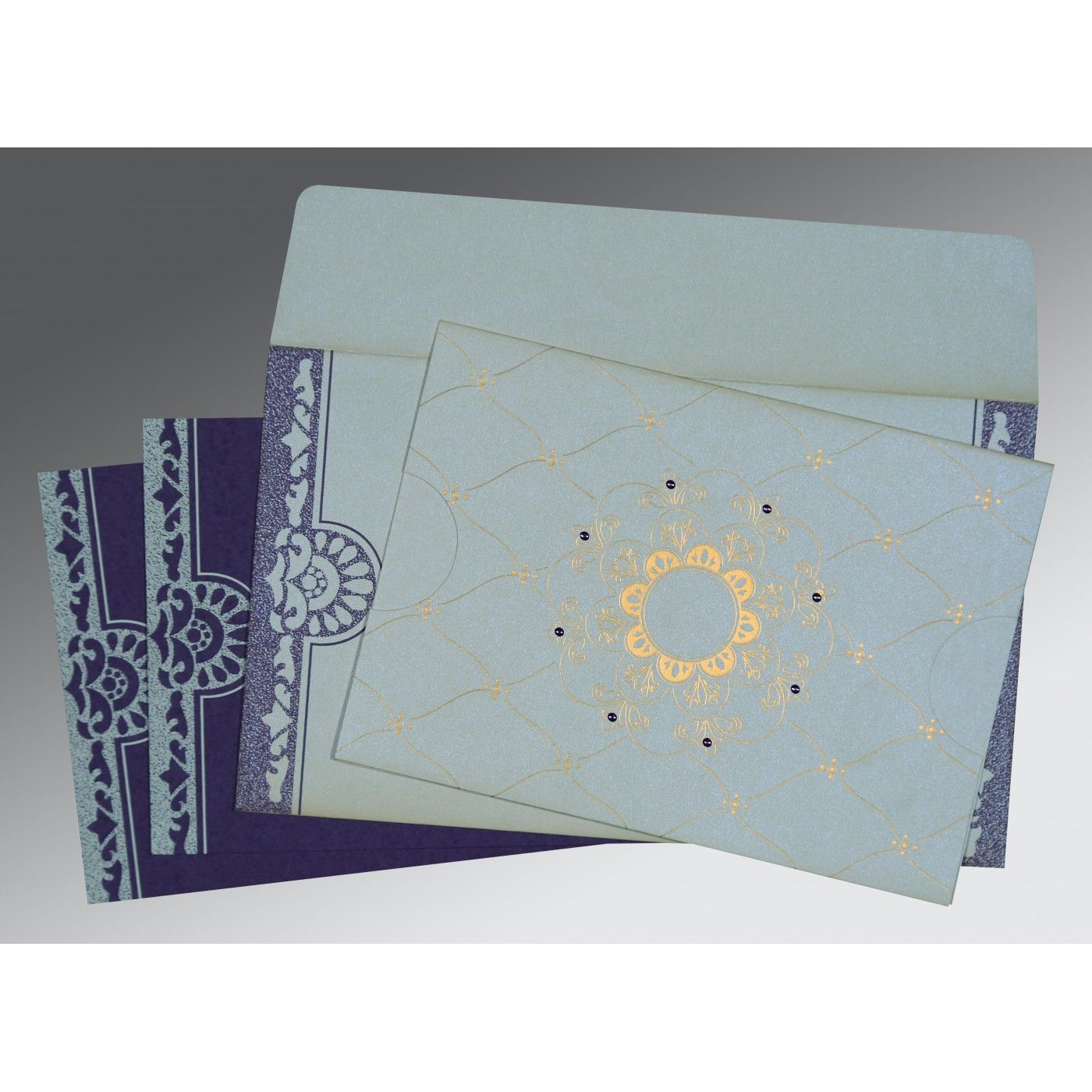 OFF-WHITE SHIMMERY FLORAL THEMED - SCREEN PRINTED WEDDING CARD : CSO-8227E - IndianWeddingCards
