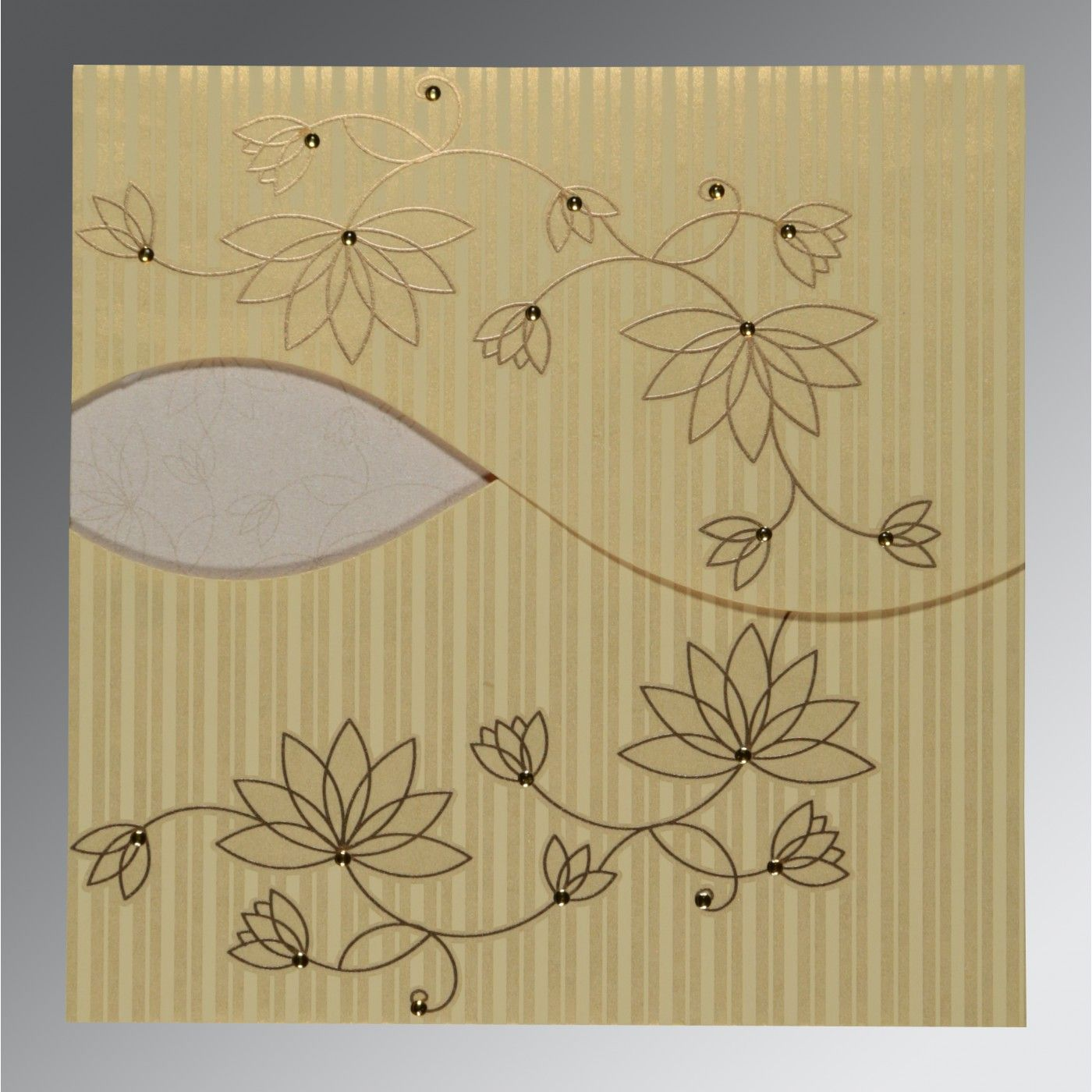 CHAMOISEE SHIMMERY FLORAL THEMED - SCREEN PRINTED WEDDING INVITATION : CW-8251H - IndianWeddingCards