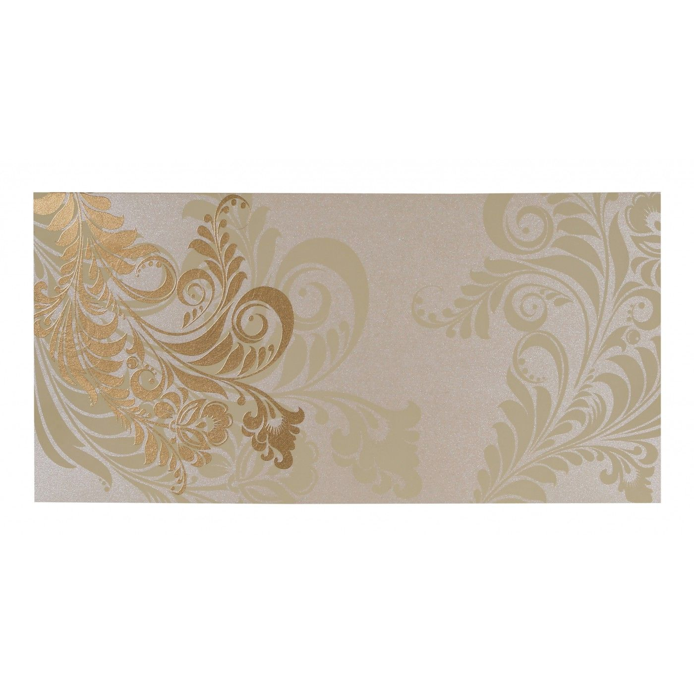 IVORY SHIMMERY FLORAL THEMED - SCREEN PRINTED WEDDING CARD : CW-8259A - IndianWeddingCards