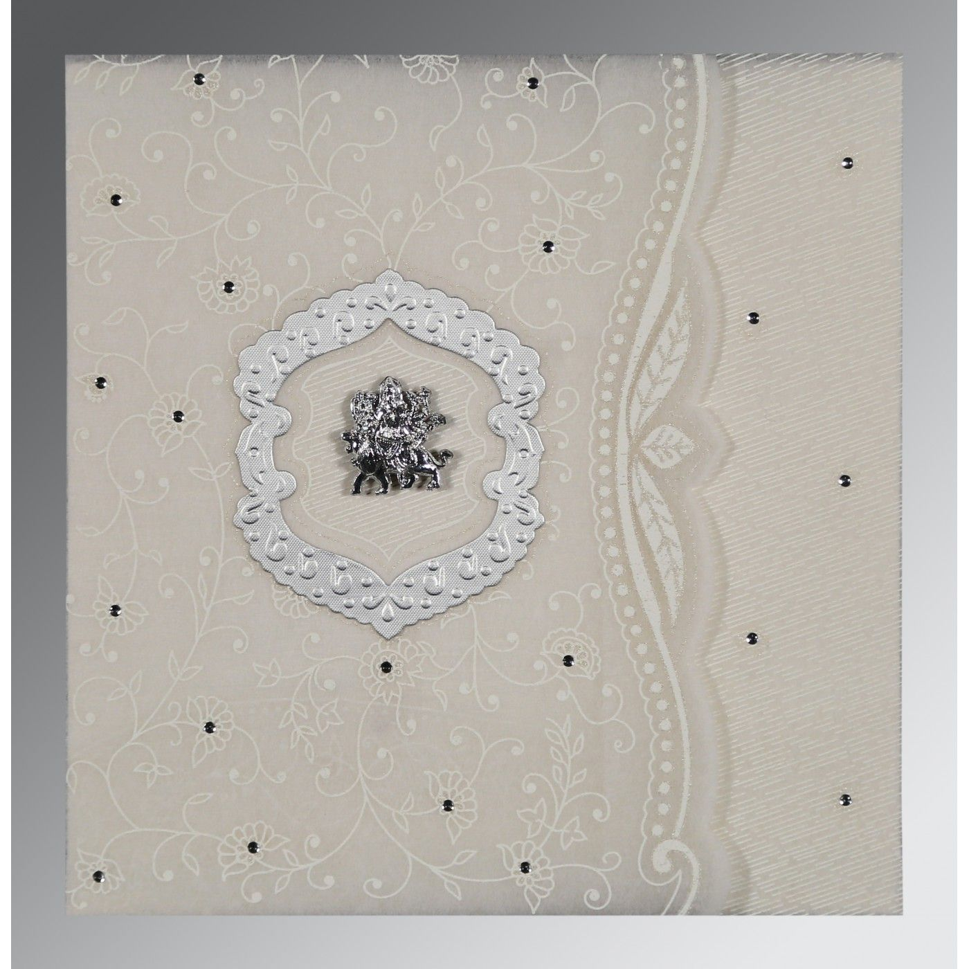 PEARL SHIMMERY FLORAL THEMED - EMBOSSED WEDDING CARD : CG-8209N - IndianWeddingCards