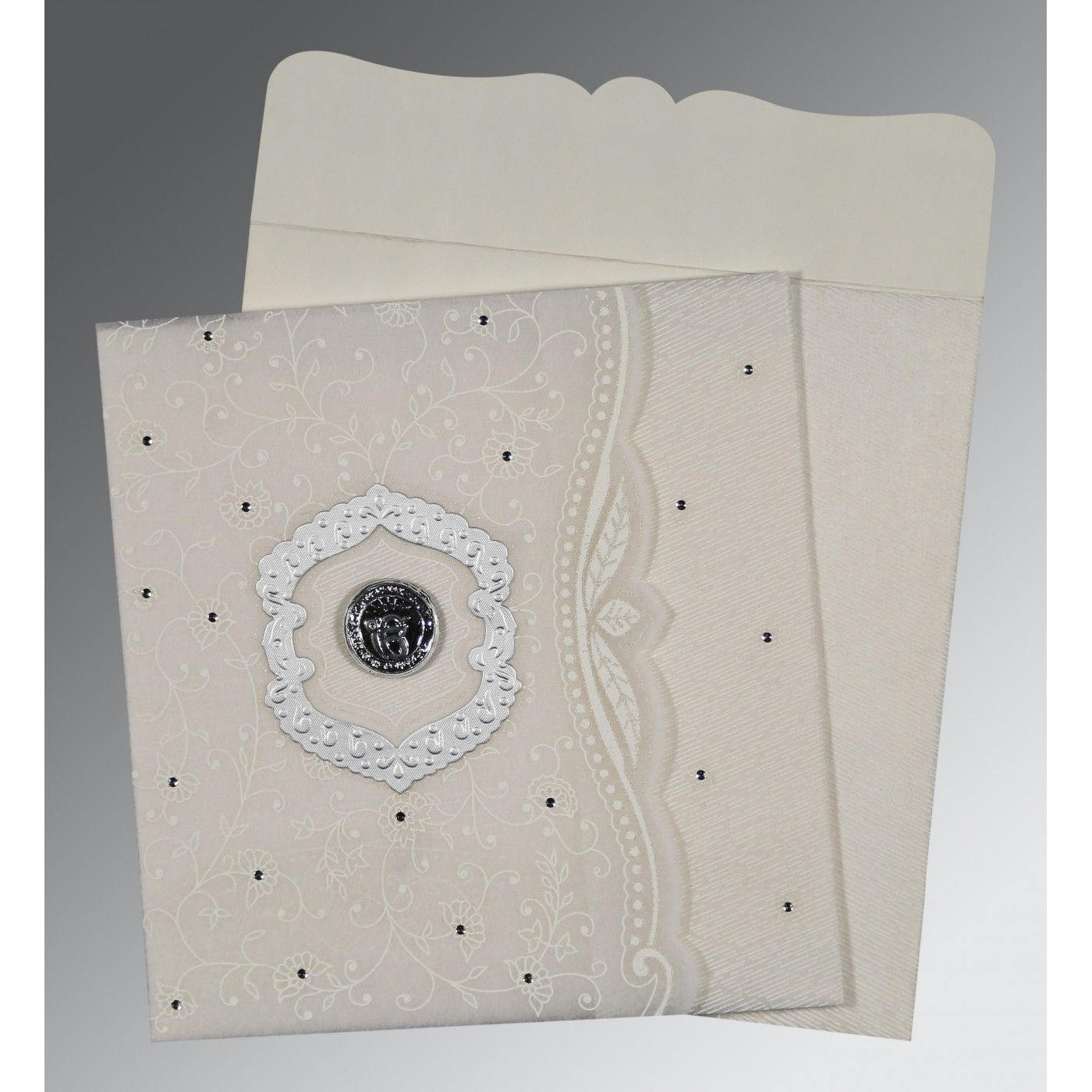 PEARL SHIMMERY FLORAL THEMED - EMBOSSED WEDDING CARD : CS-8209N - IndianWeddingCards