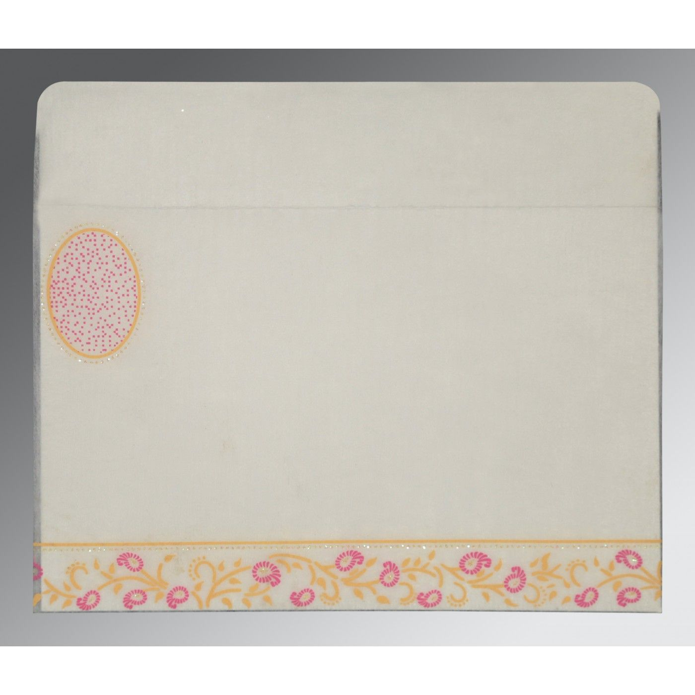 OFF-WHITE WOOLY FLORAL THEMED - GLITTER WEDDING CARD : CD-8206F - IndianWeddingCards