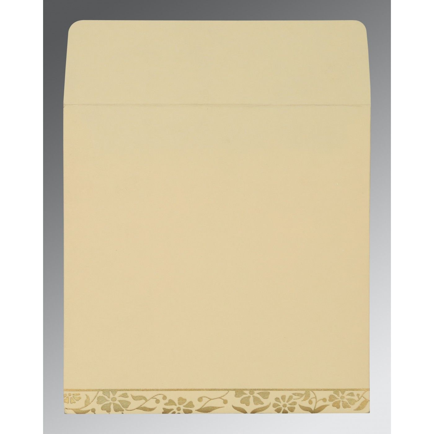 OFF-WHITE MATTE FLORAL THEMED - SCREEN PRINTED WEDDING CARD : CRU-8222I - IndianWeddingCards