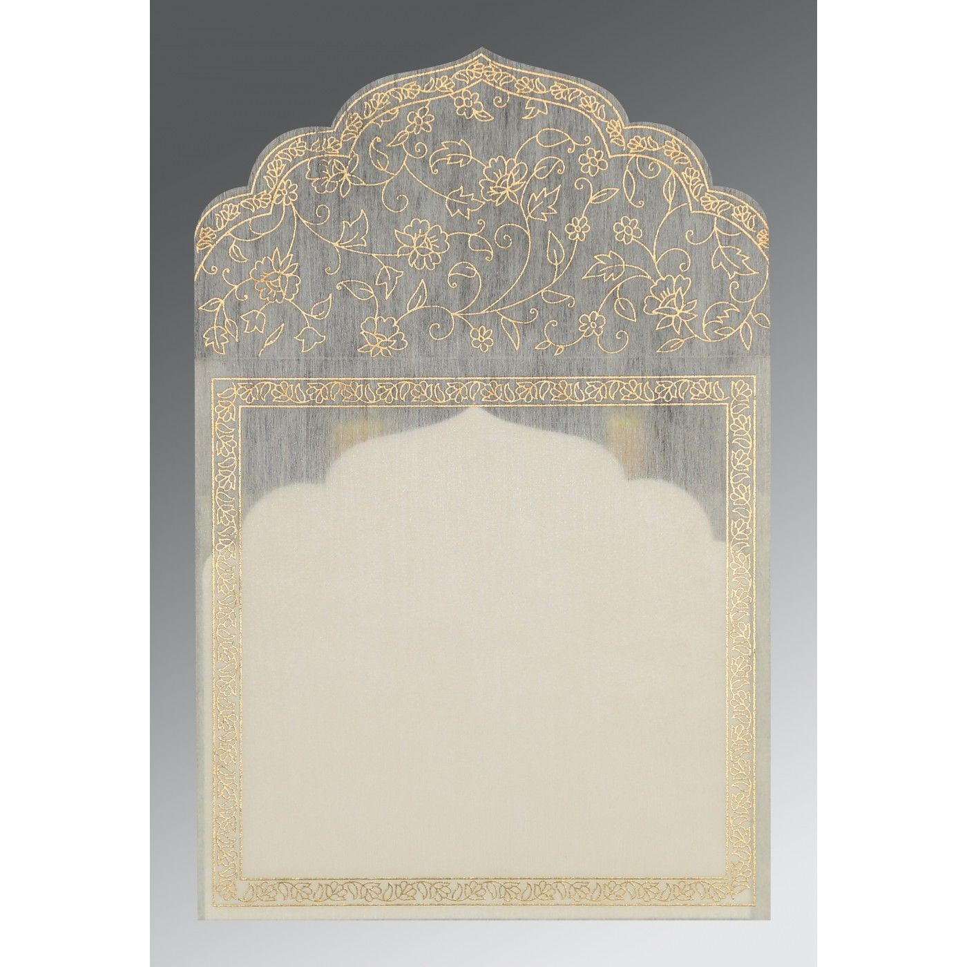 CREAM WOOLY FLORAL THEMED - SCREEN PRINTED WEDDING INVITATION : CSO-8211G - IndianWeddingCards