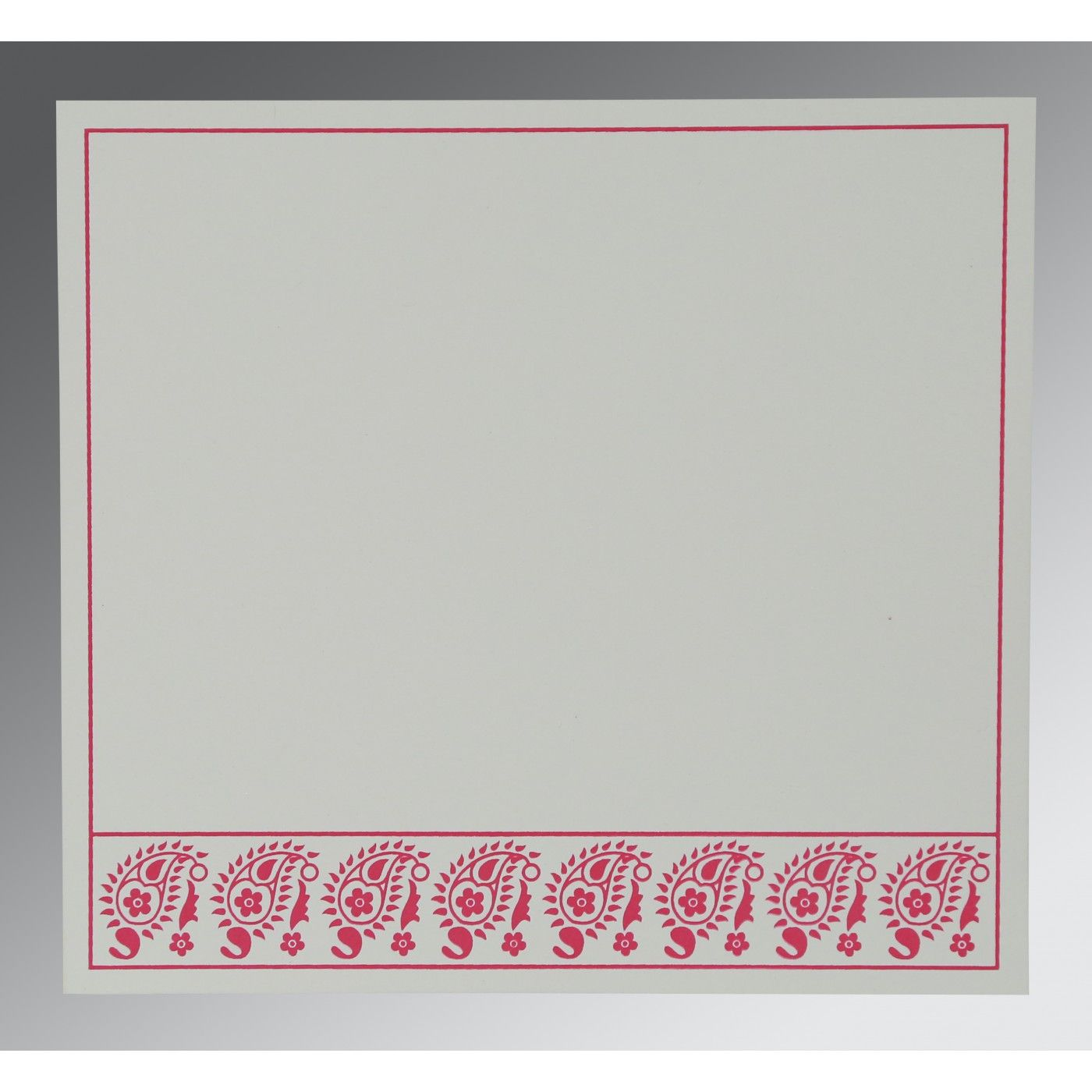 BEIGE WOOLY FLORAL THEMED - SCREEN PRINTED WEDDING CARD : CW-8218G - IndianWeddingCards