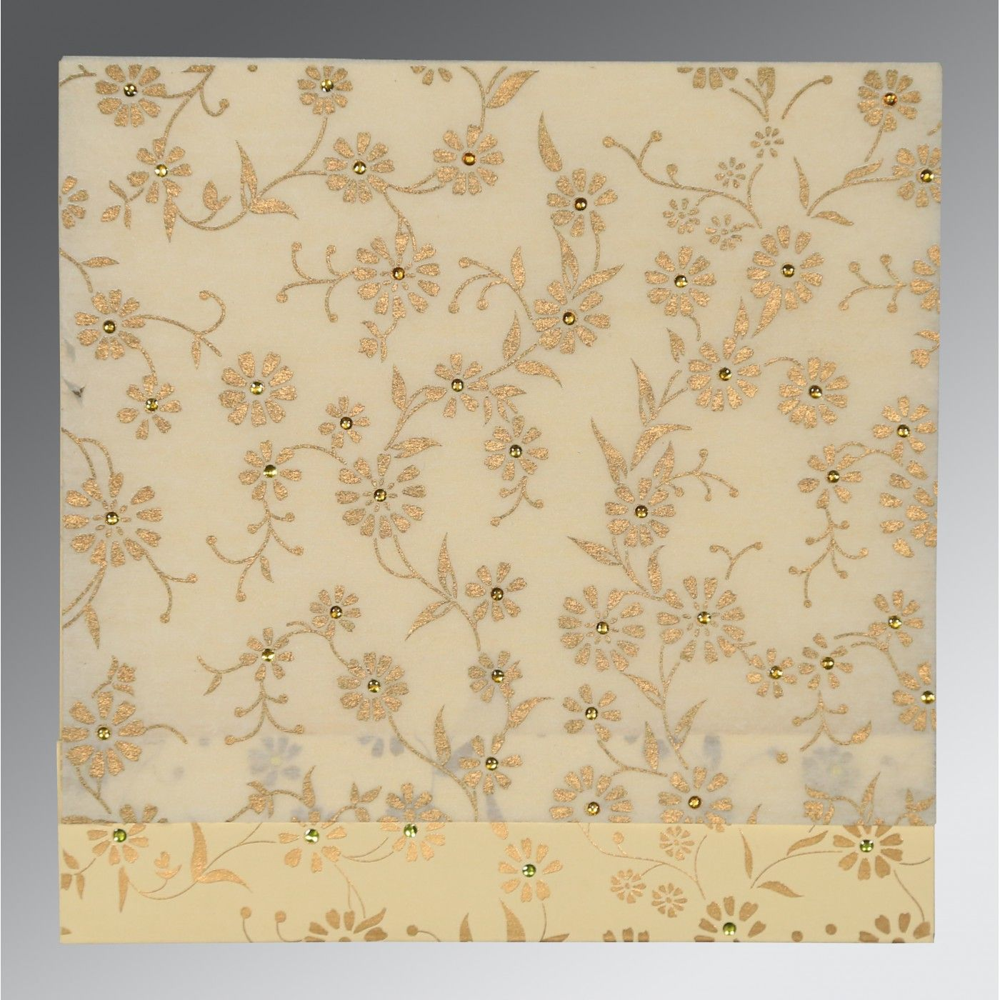OFF-WHITE MATTE FLORAL THEMED - SCREEN PRINTED WEDDING CARD : CW-8222I - IndianWeddingCards