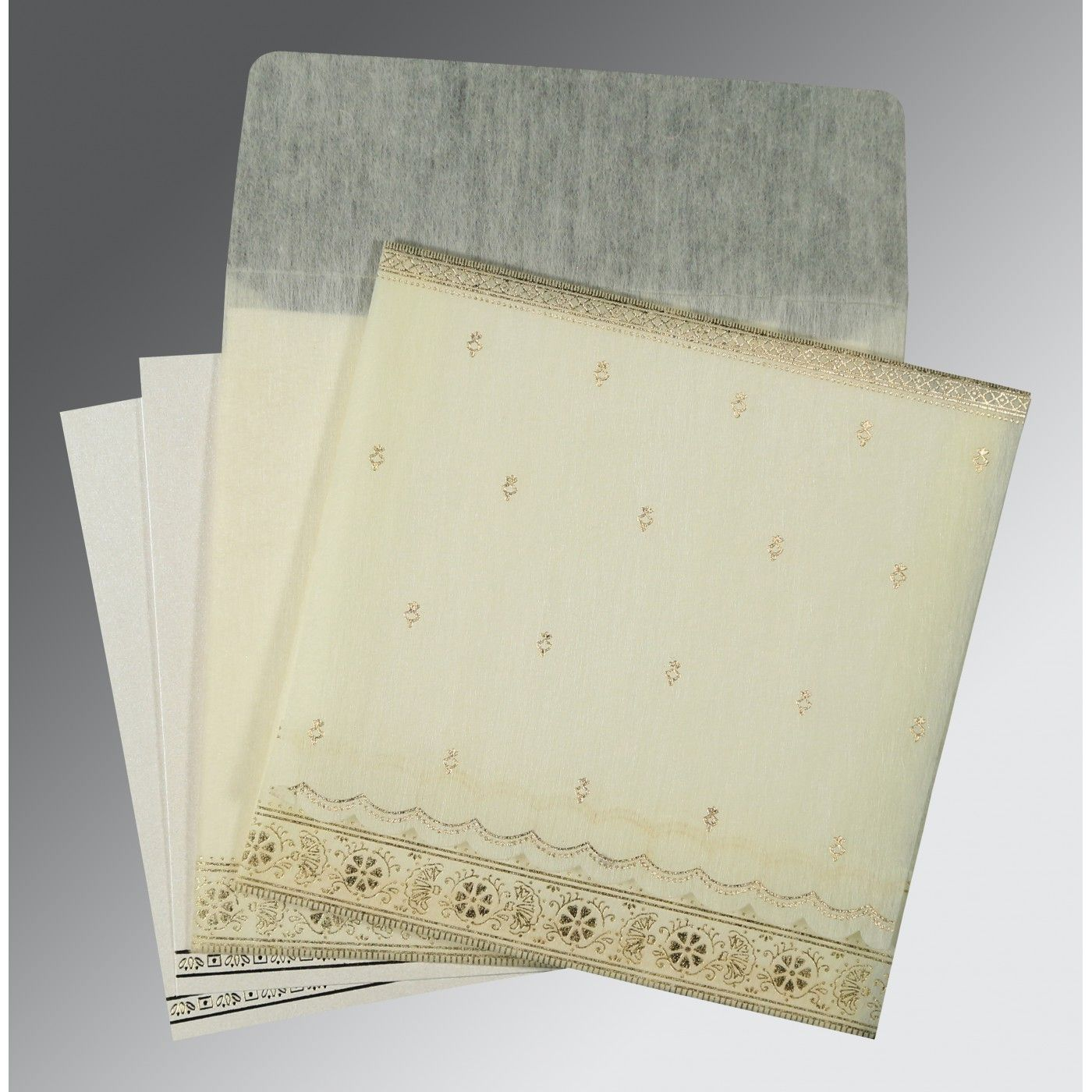 IVORY WOOLY FOIL STAMPED WEDDING CARD : CI-8242M - IndianWeddingCards
