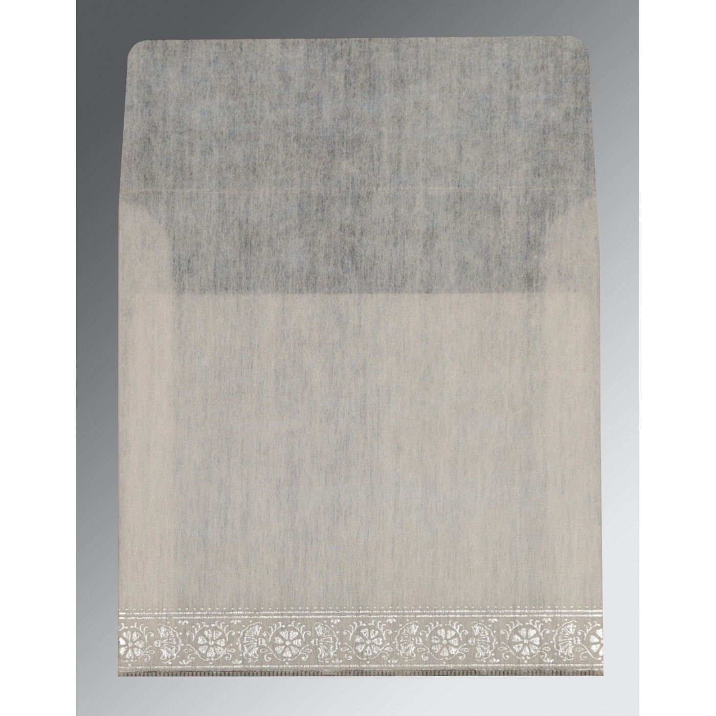 OFF-WHITE WOOLY FOIL STAMPED WEDDING CARD : CRU-8242P - IndianWeddingCards