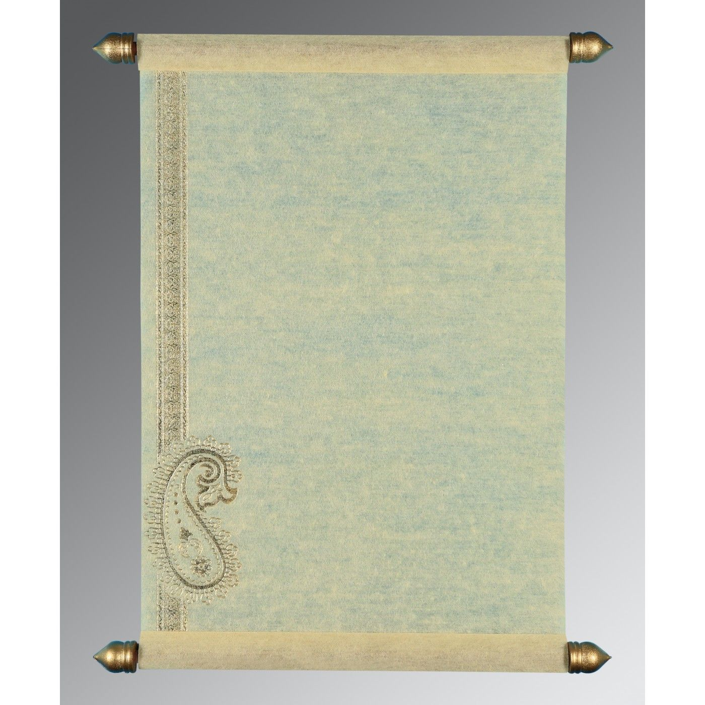 OFF-WHITE WOOLY FOIL STAMPED WEDDING CARD : CSC-5015N - IndianWeddingCards
