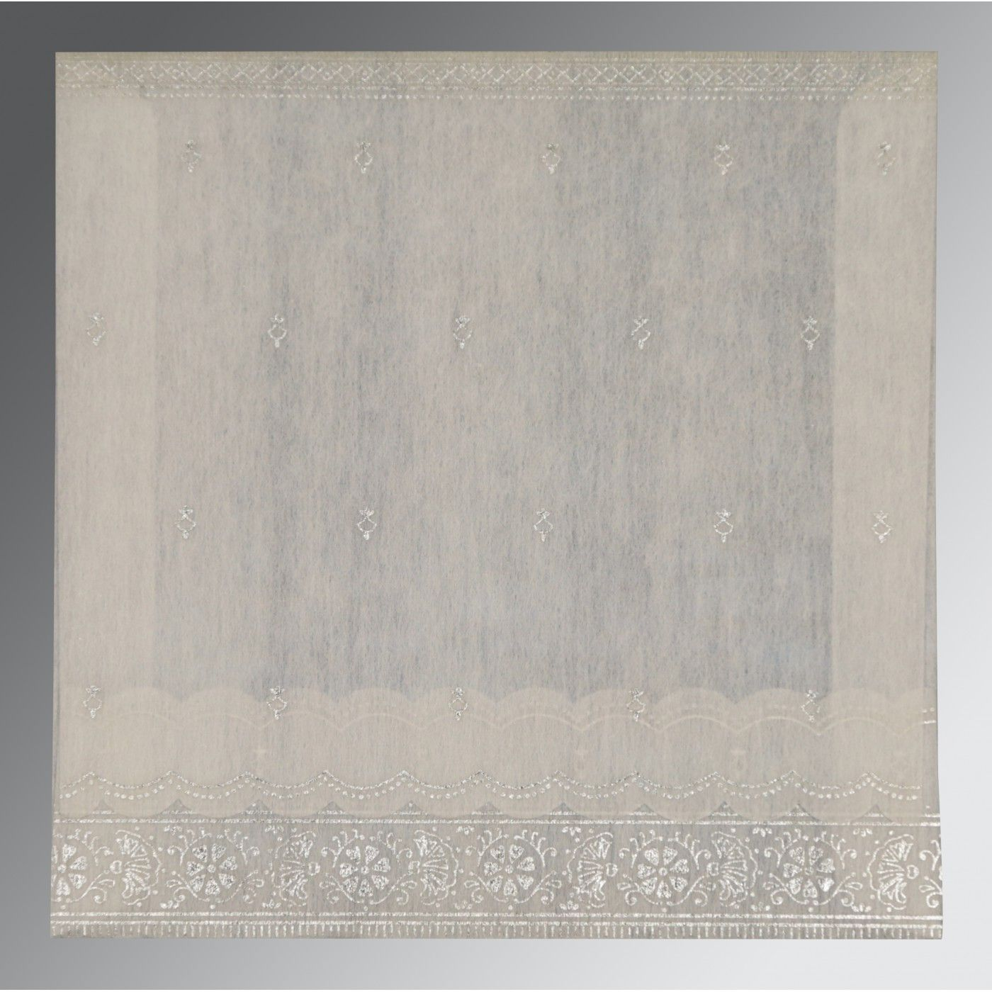 OFF-WHITE WOOLY FOIL STAMPED WEDDING CARD : CSO-8242P - IndianWeddingCards