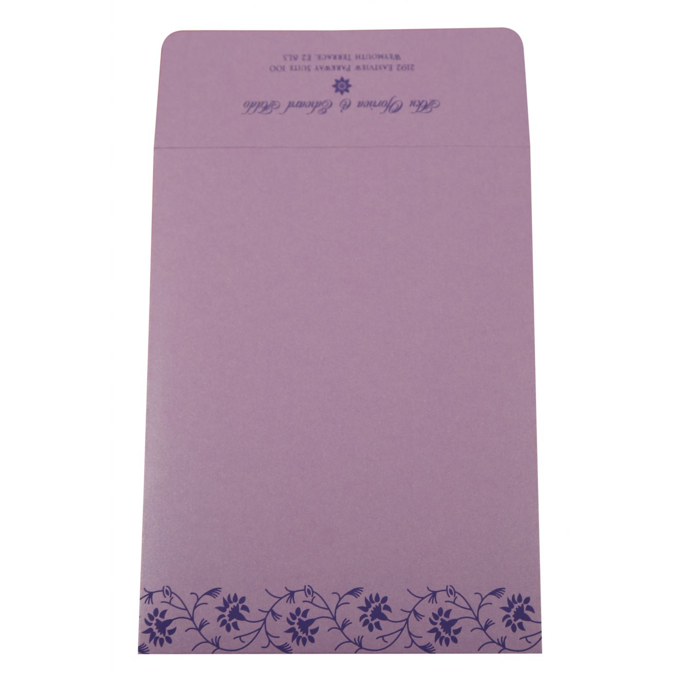 LAVENDER PURPLE SHIMMERY FLORAL THEMED - SCREEN PRINTED WEDDING INVITATION : CSO-822E - IndianWeddingCards