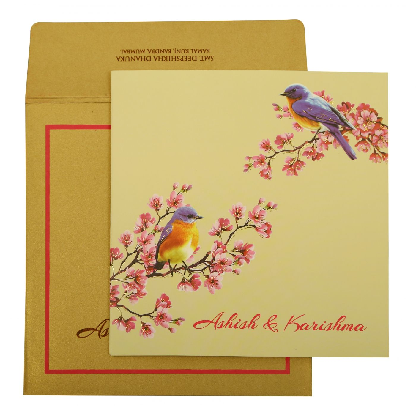 OFF-WHITE MATTE FOIL STAMPED WEDDING INVITATION : CW-1903 - IndianWeddingCards