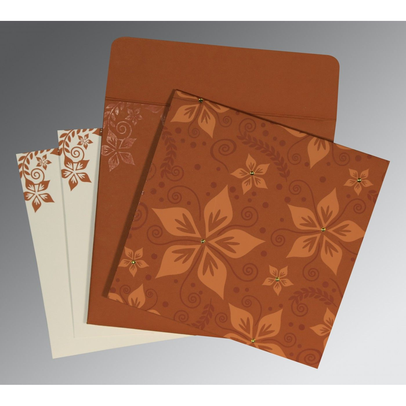 BROWN MATTE FLORAL THEMED - SCREEN PRINTED WEDDING INVITATION : CW-8240L - IndianWeddingCards