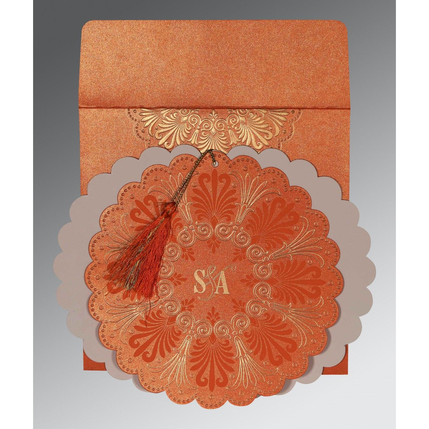 COPPER SHIMMERY FLORAL THEMED - EMBOSSED WEDDING CARD : CD-8238F - IndianWeddingCards