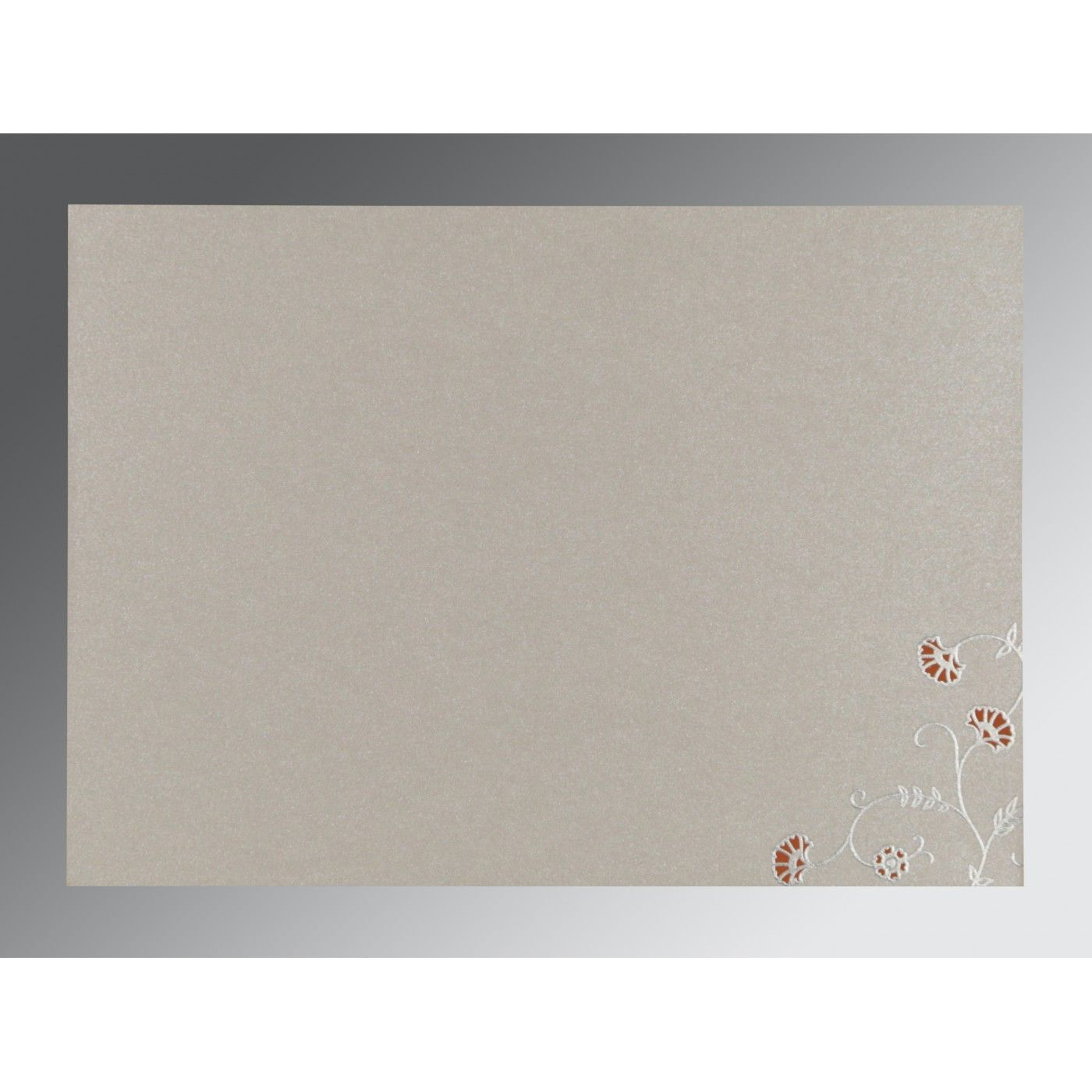 PEACH SHIMMERY FLORAL THEMED - SCREEN PRINTED WEDDING INVITATION : CD-8248E - IndianWeddingCards