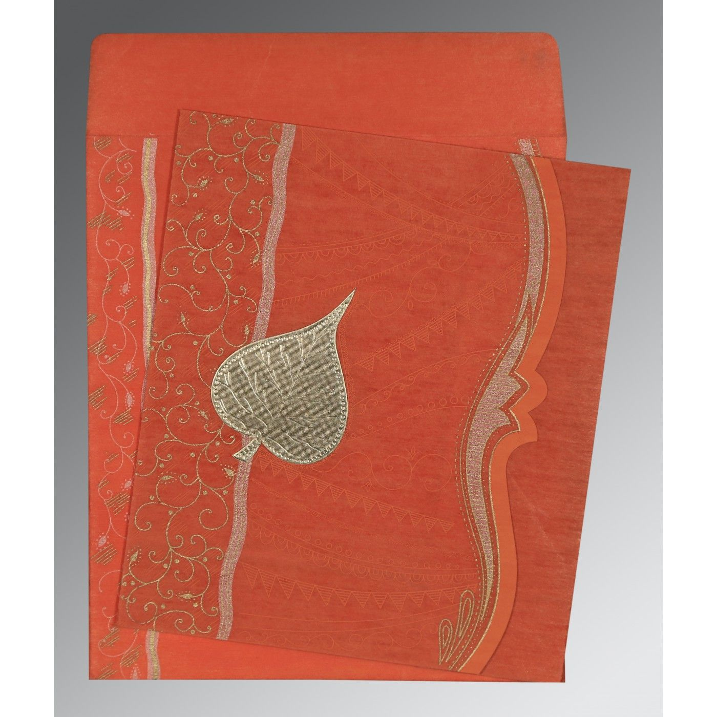 CORAL SHIMMERY EMBOSSED WEDDING CARD : CD-8210F - IndianWeddingCards