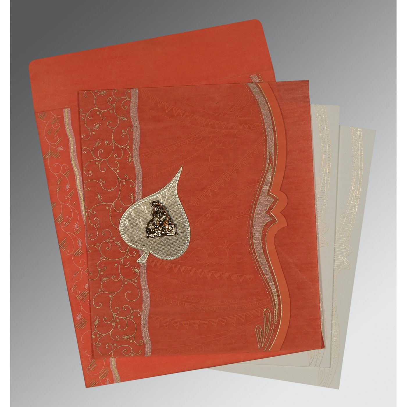 CORAL SHIMMERY EMBOSSED WEDDING CARD : CG-8210F - IndianWeddingCards