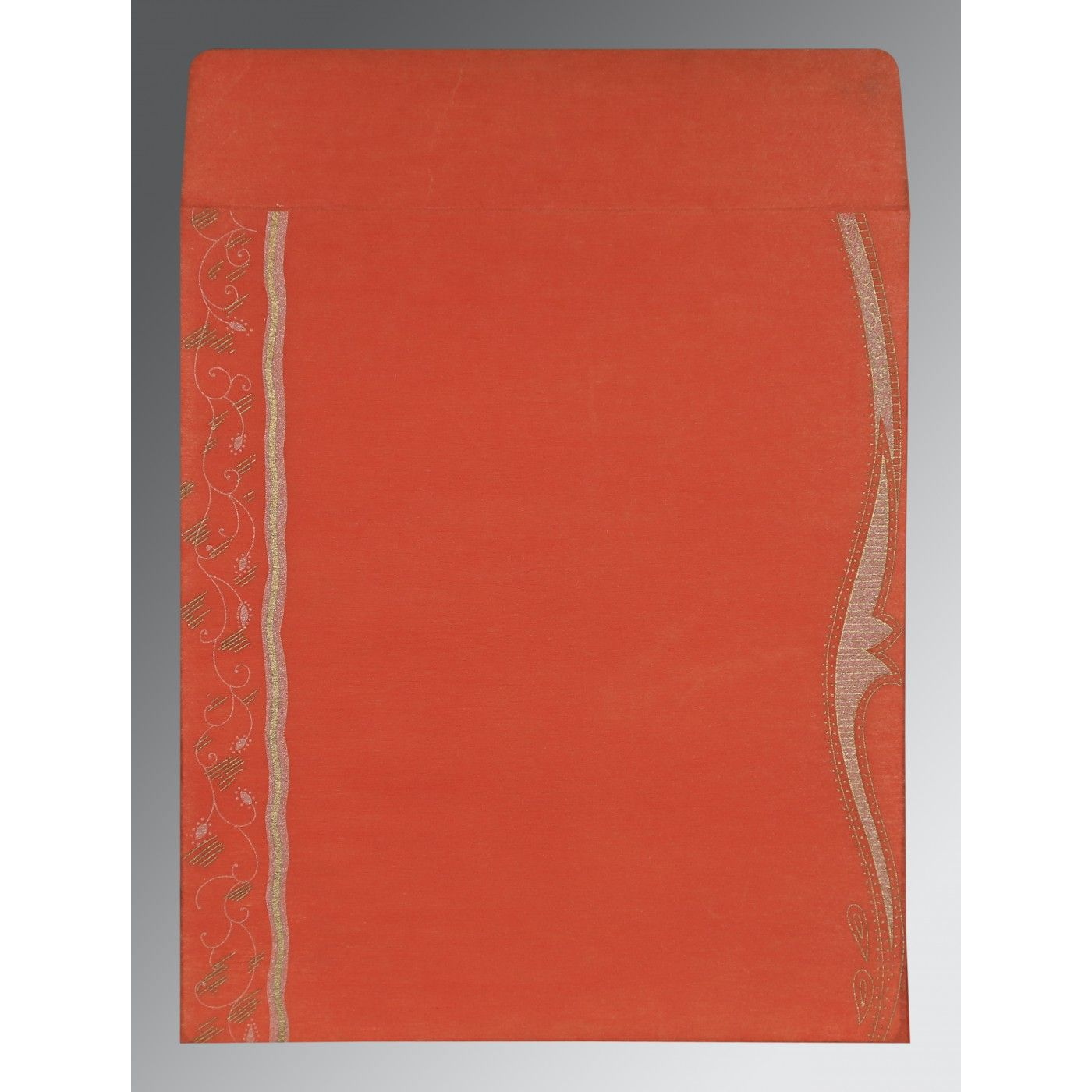 CORAL SHIMMERY EMBOSSED WEDDING CARD : CI-8210F - IndianWeddingCards