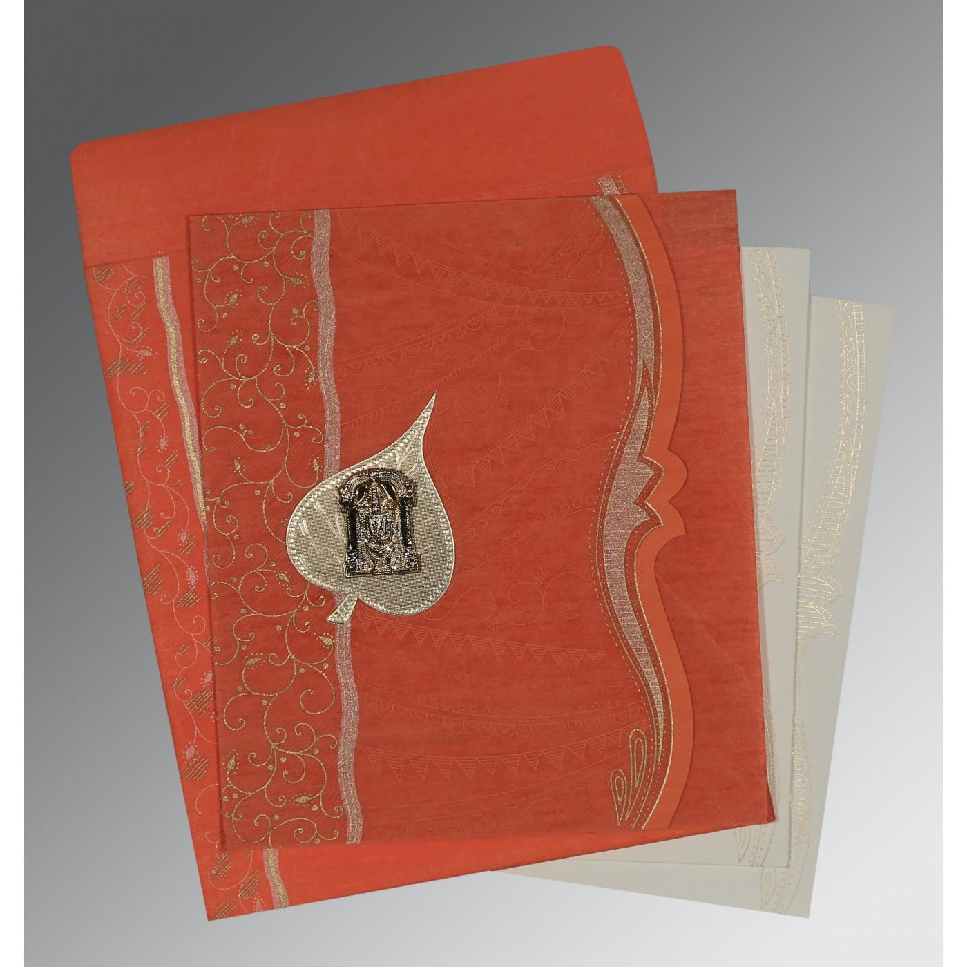 CORAL SHIMMERY EMBOSSED WEDDING CARD : CSO-8210F - IndianWeddingCards