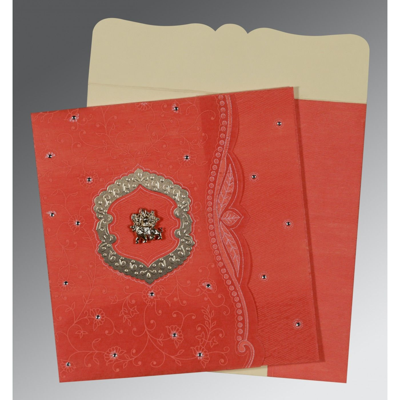 SWEET NECTAR SHIMMERY FLORAL THEMED - EMBOSSED WEDDING CARD : CG-8209M - IndianWeddingCards
