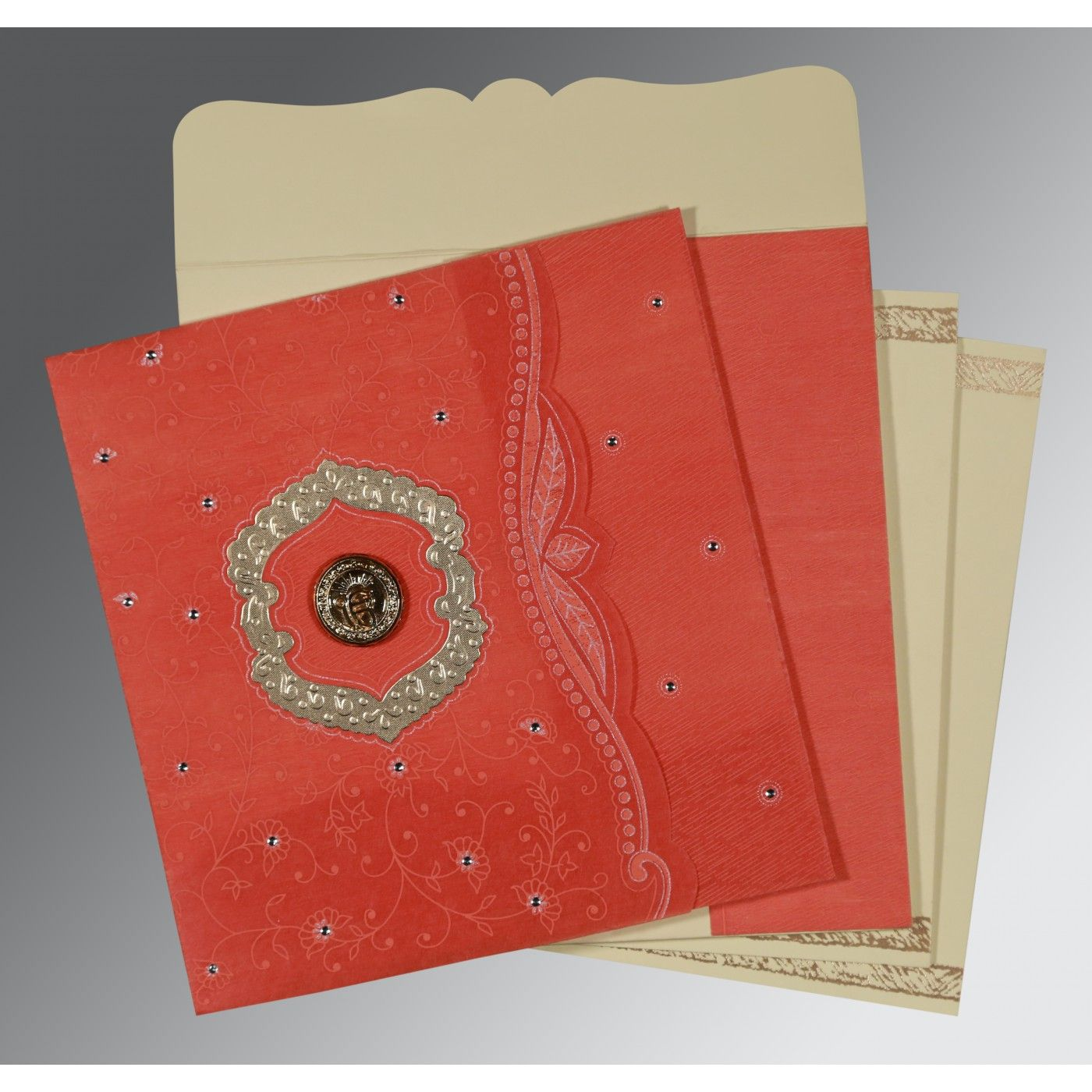 SWEET NECTAR SHIMMERY FLORAL THEMED - EMBOSSED WEDDING CARD : CRU-8209M - IndianWeddingCards
