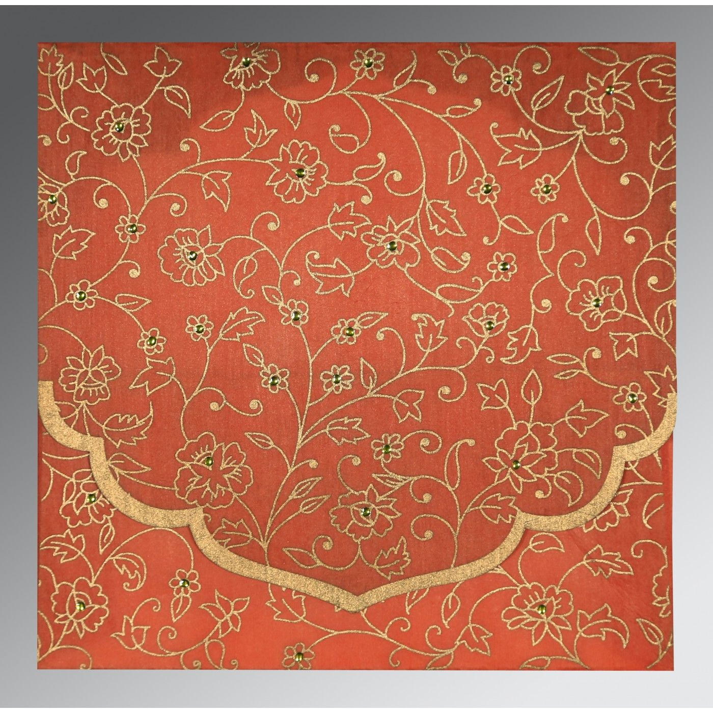 CORAL WOOLY FLORAL THEMED - SCREEN PRINTED WEDDING INVITATION : CD-8211F - IndianWeddingCards