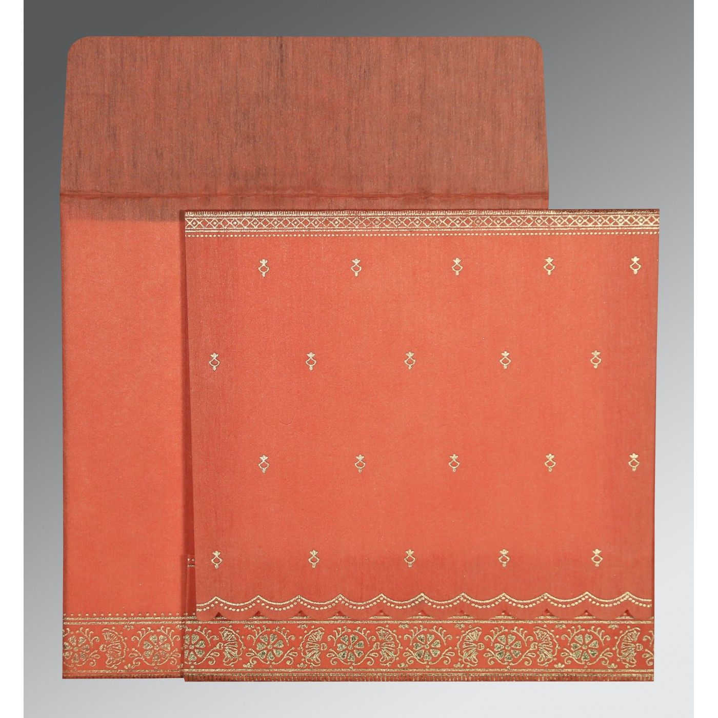 CORAL WOOLY FOIL STAMPED WEDDING CARD : CSO-8242I - IndianWeddingCards