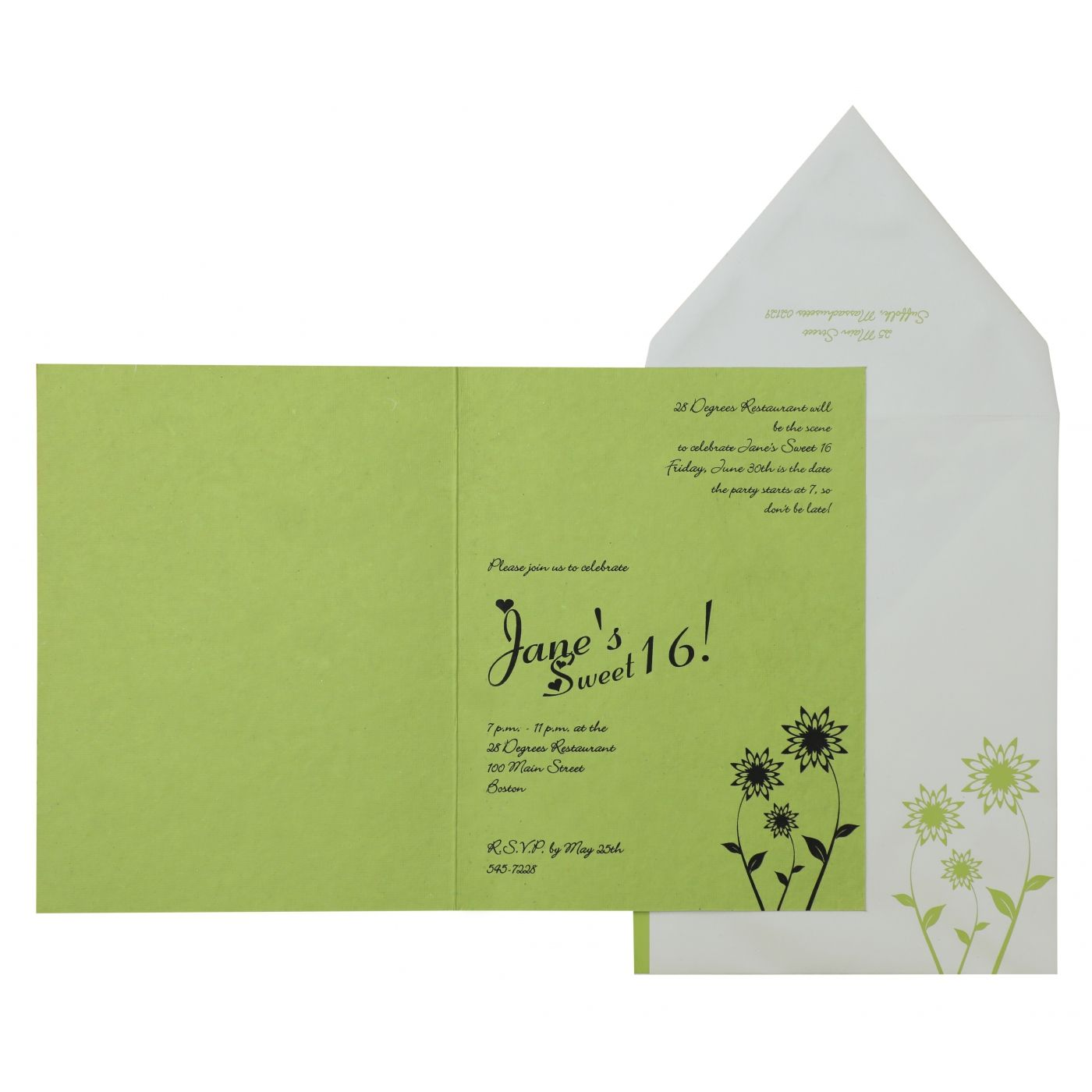 PARROT GREEN HANDMADE COTTON FLORAL THEMED - SCREEN PRINTED PARTY CARDS : CPY-888 - IndianWeddingCards